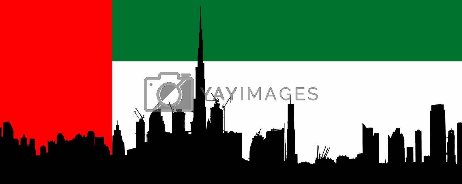 Dubai silhouettewith UAE Flag in Background by GABIS