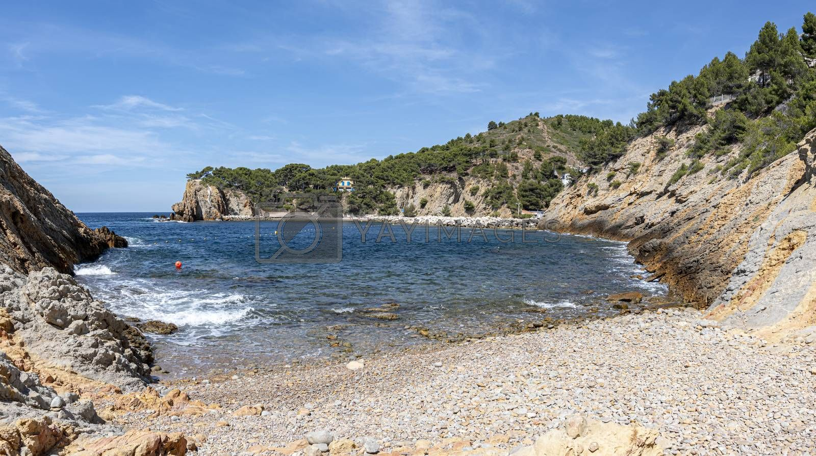 Bay and pebble beach of  the iconic Calanque of Figuieres, creek of Figuieres and Figuières Cove in Méjean, South of France, Europe