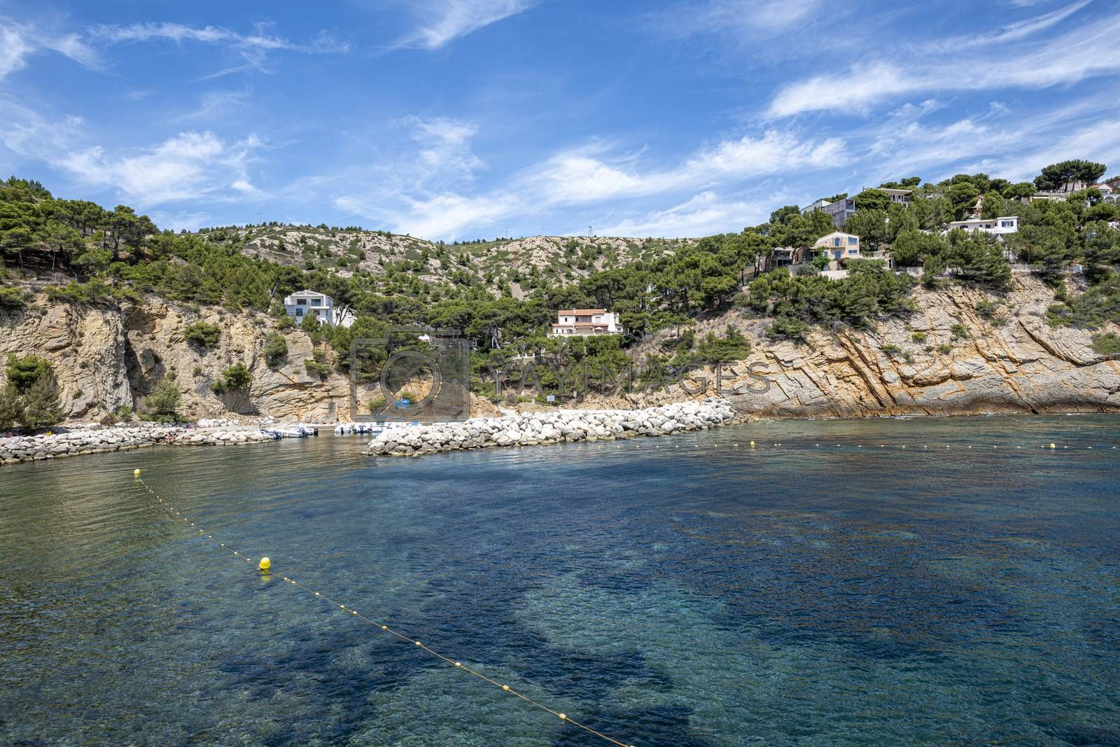 Port and and houses in the iconic Calanque of Figuieres ,creek and Figuières Cove in Méjean, South of France, Europe