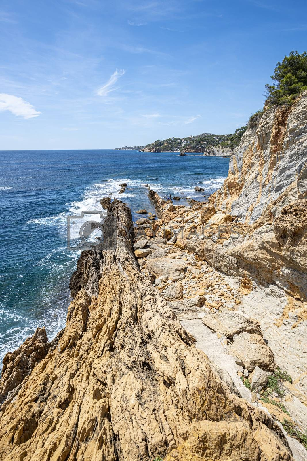 Landscape of Rocky area near the Mediterranean sea at the Calanque of Figuieres, creek of Figuieres, South of France, Europe