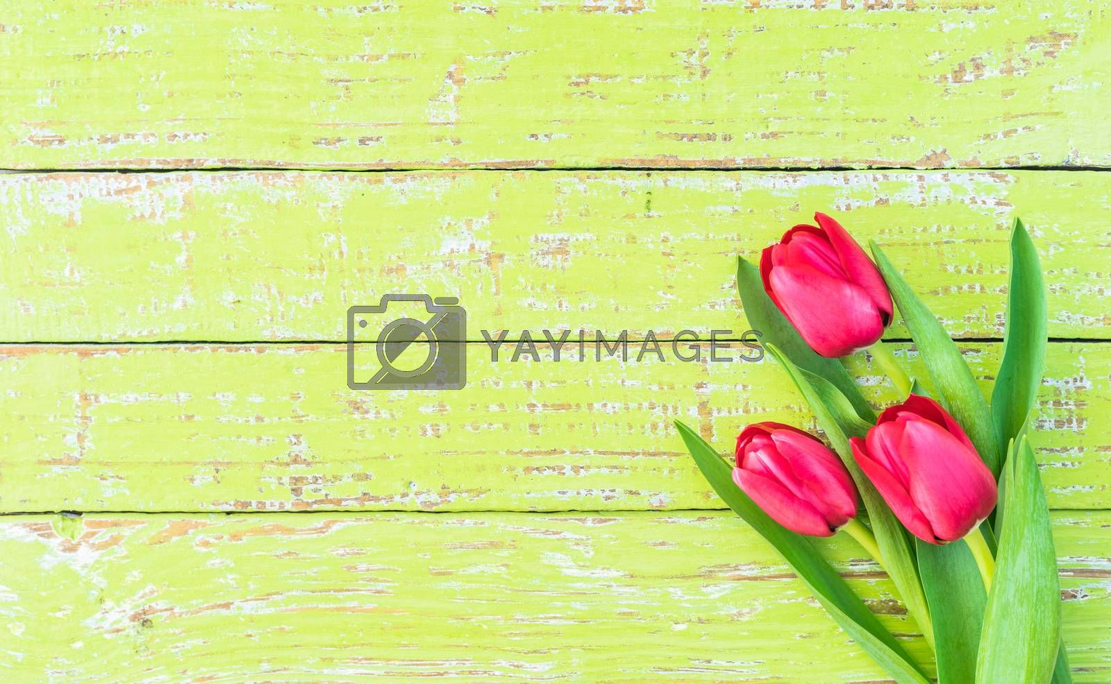 Bunch of flowers with red tulips on green wooden background with copy space