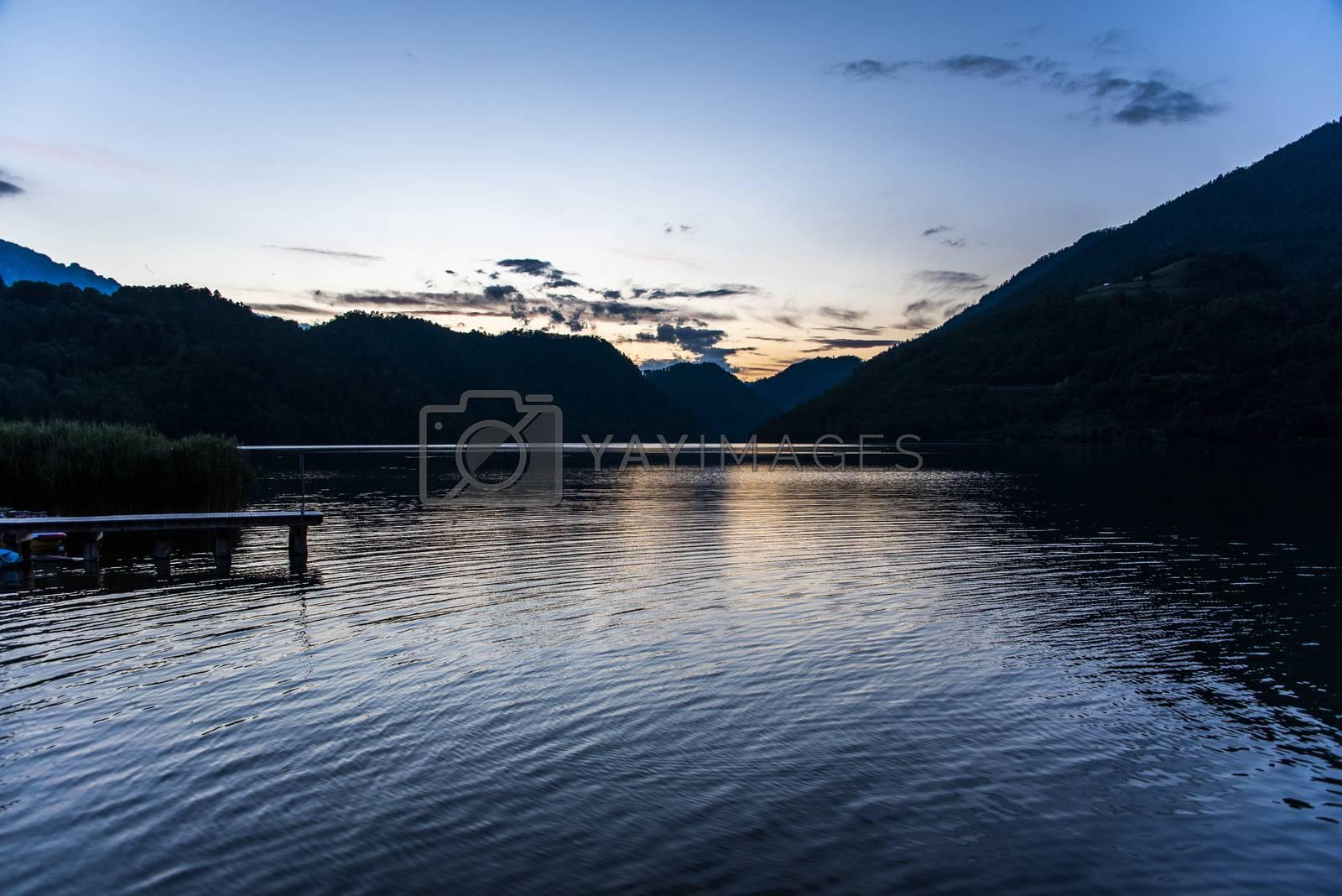 sunset on Lake Levico, Trento Italy