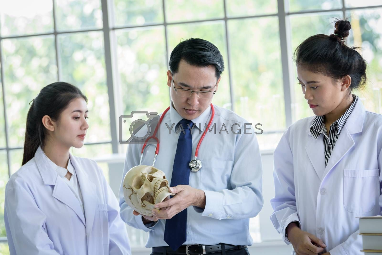 Asian teacher has teaching to student about science and anatomical in laboratory