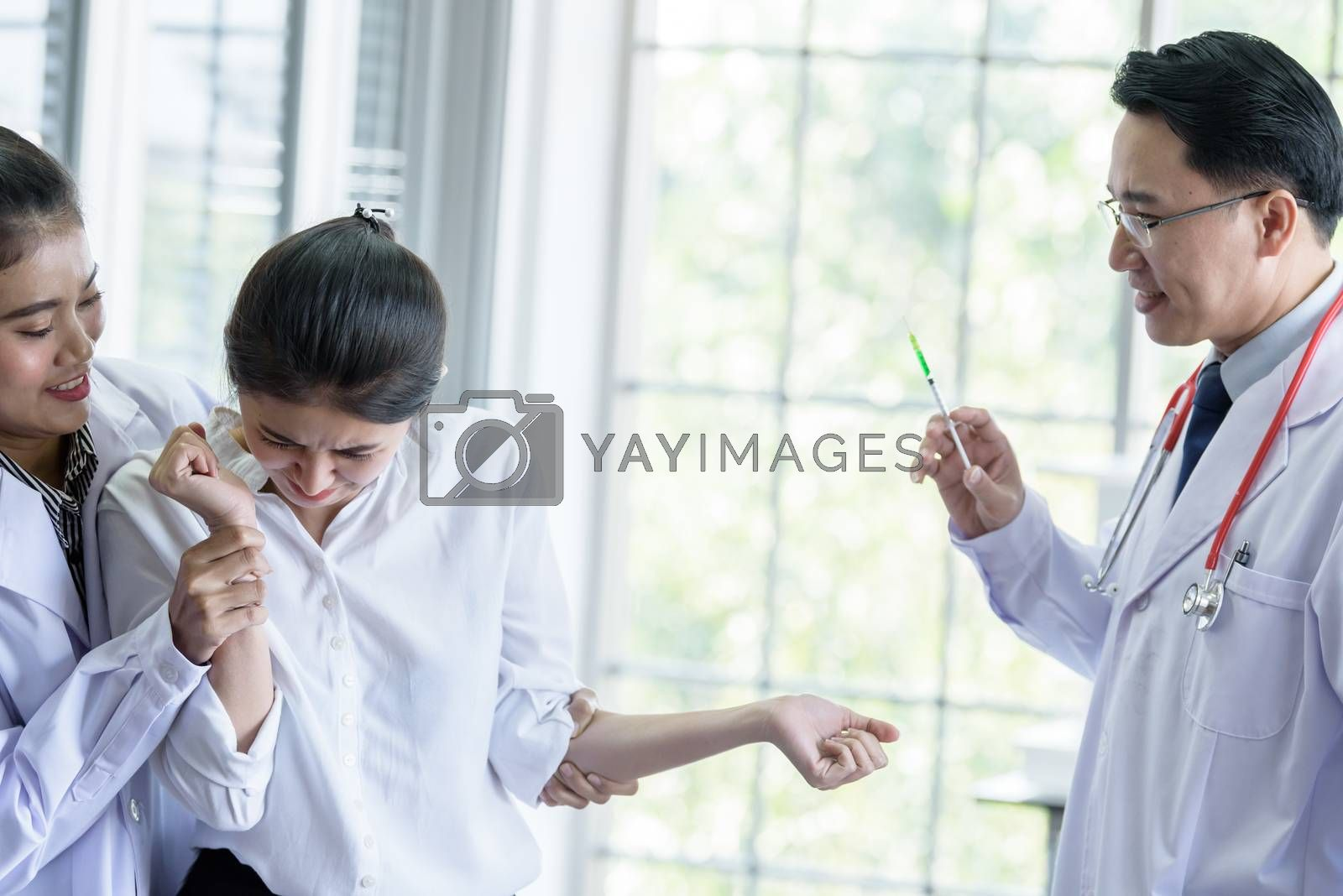 Patient has afraid and scary of syringe and needle.