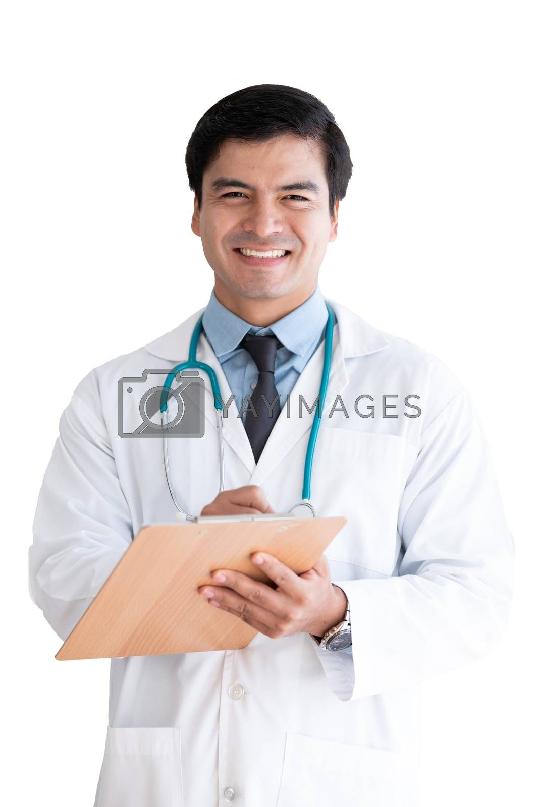 A senior doctor isolated has note and writing on white background.