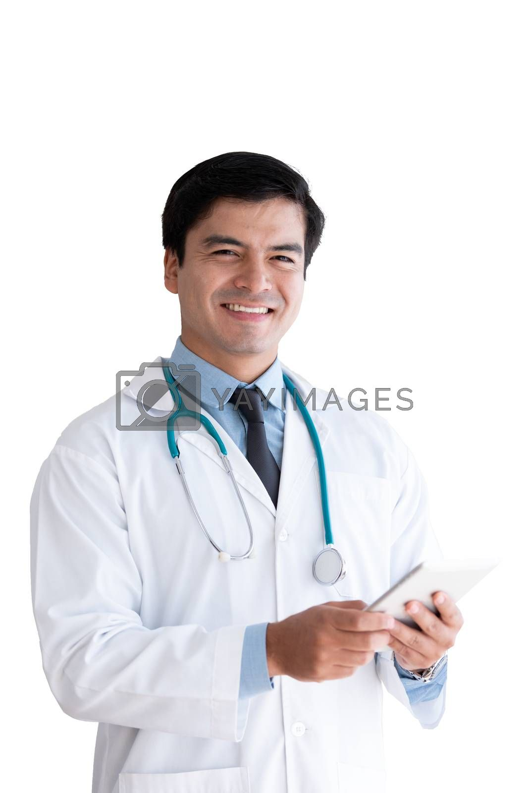 A senior doctor isolated has holding tablet isolated on white ba by animagesdesign