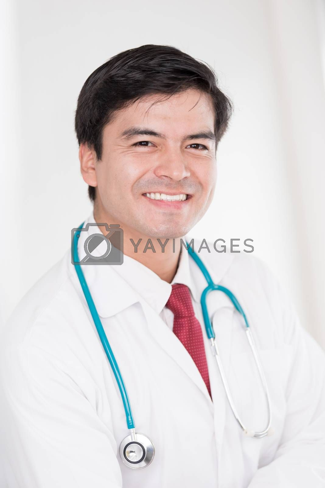 A portrait of a doctor man with smiling and happiness at the hos by animagesdesign