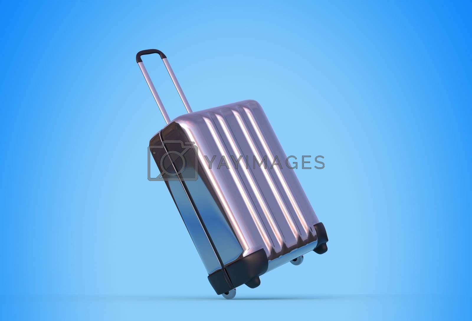Trolley case with wheels on blue background 3D rendering