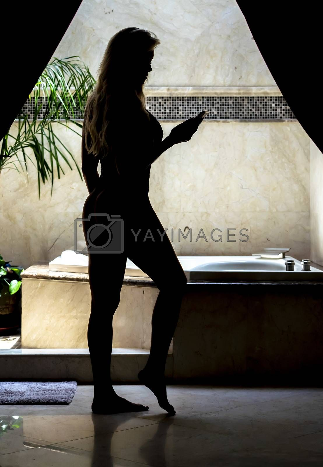 Silhouette of a gorgeous model posing in lingerie in a home environment