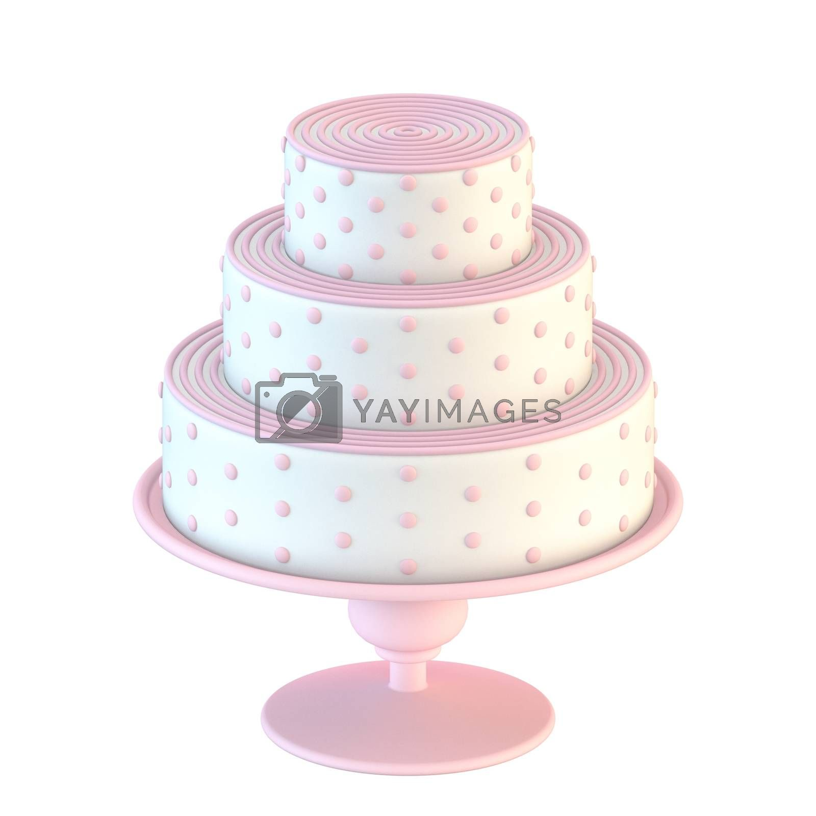 Pink white cake with dots 3D render illustration isolated on white background
