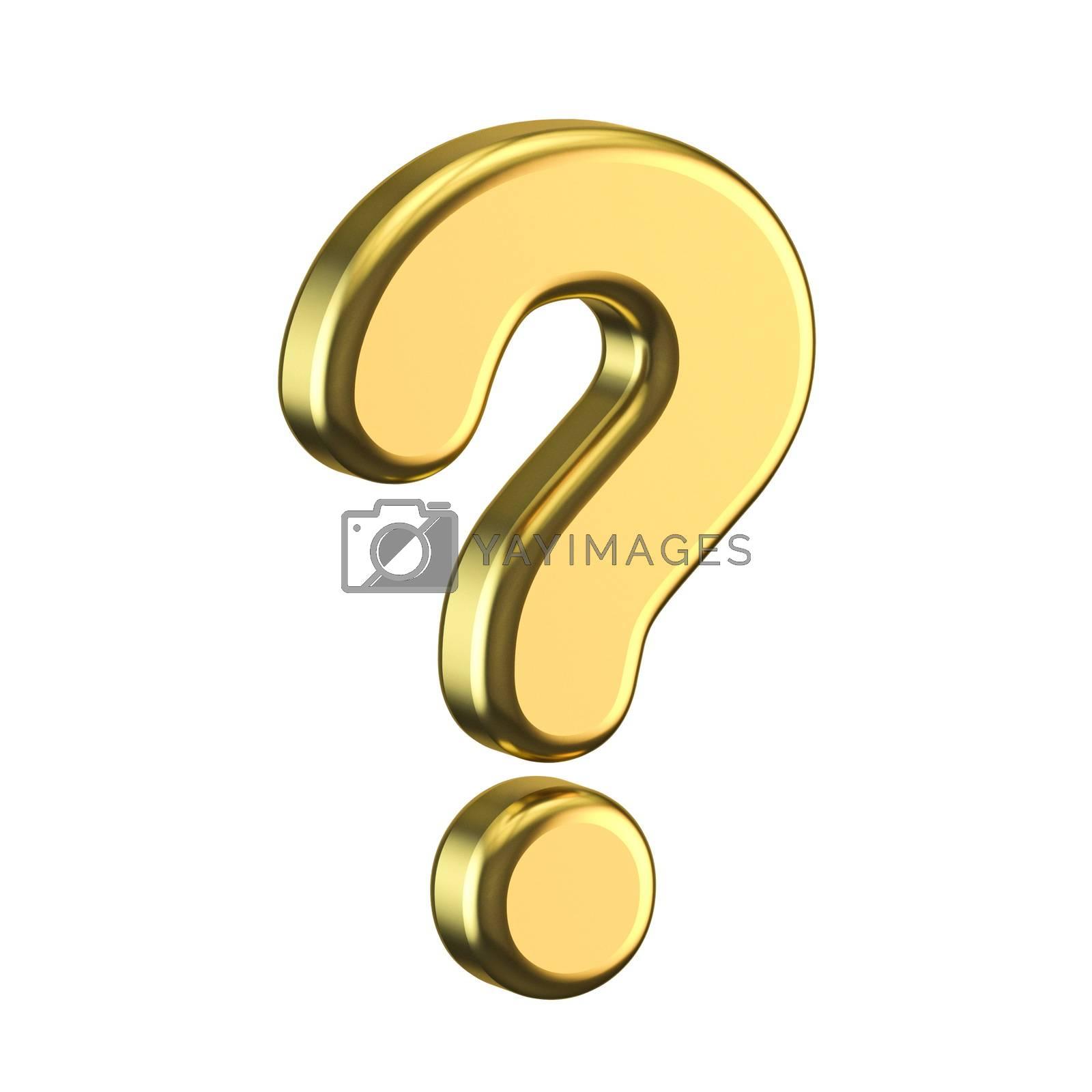 Golden question mark 3D render illustration isolated on white background