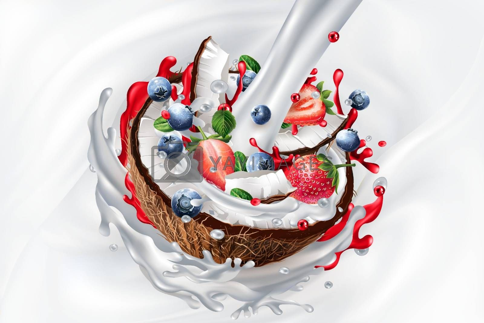 Sliced coconut with blueberries and strawberries and a stream of milk on a white liquid background. Realistic vector illustration.