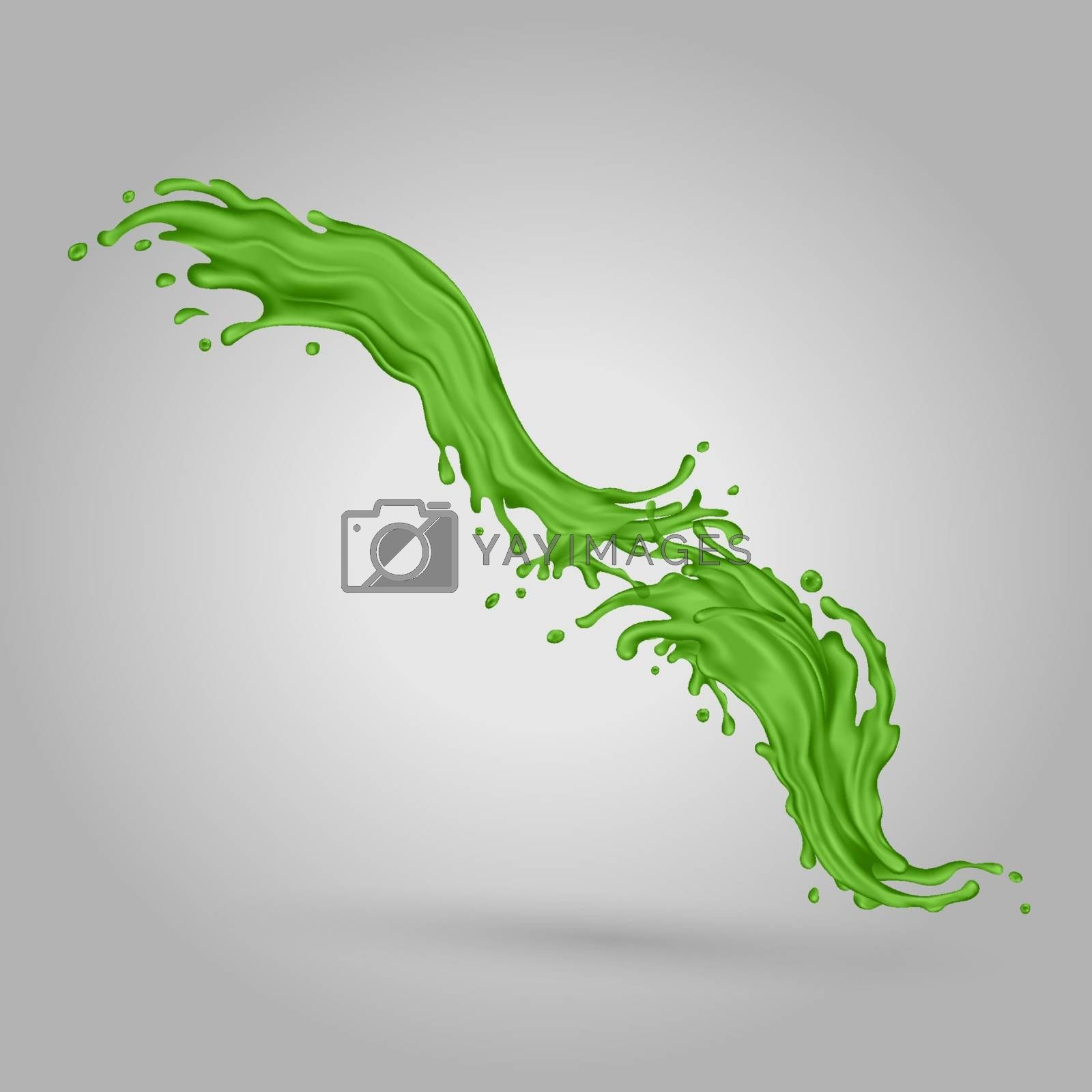 Green juice dynamic splash. Realistic vector illustration.