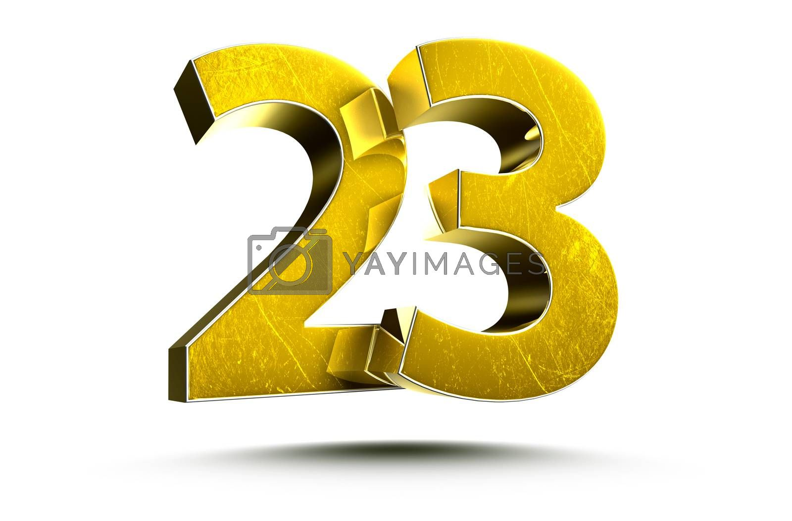 3D illustration Golden number 23 isolated on a white background.(with Clipping Path).