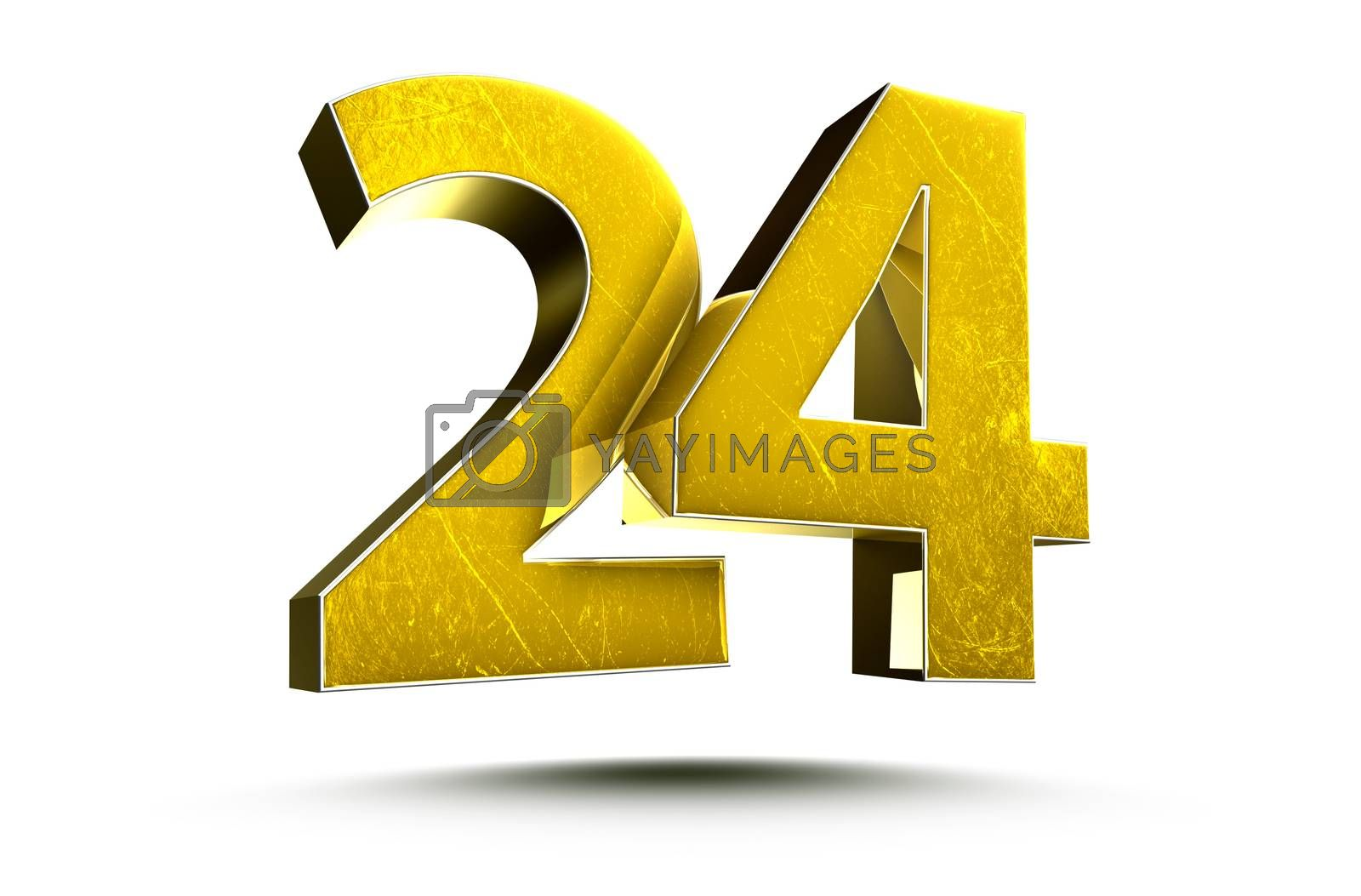 3D illustration Golden number 24 isolated on a white background.(with Clipping Path).