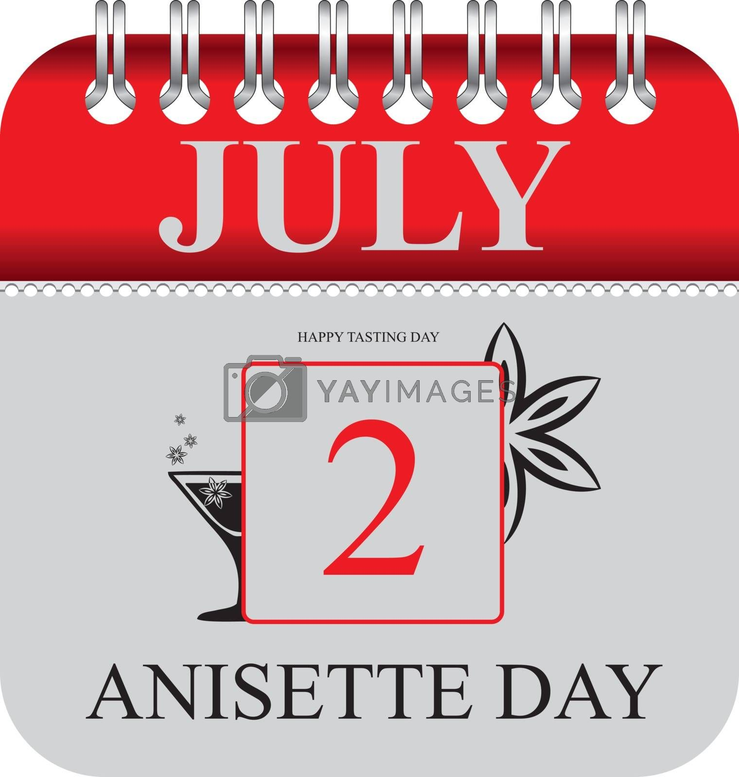 Calendar with perforation for changing dates - july Anisette Day