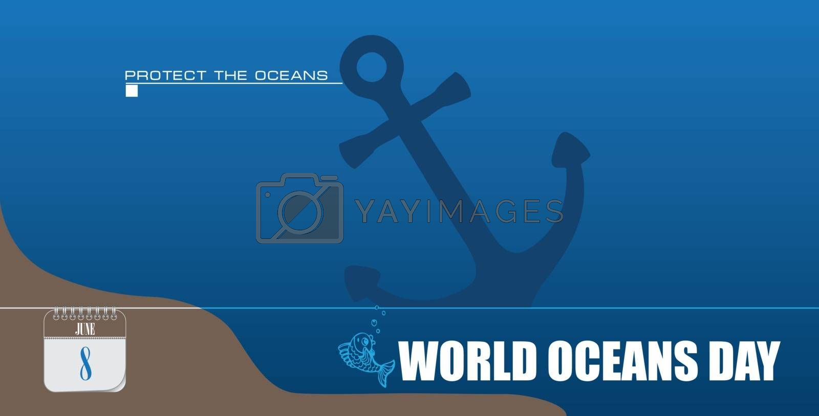 Post card for event june day World Oceans Day