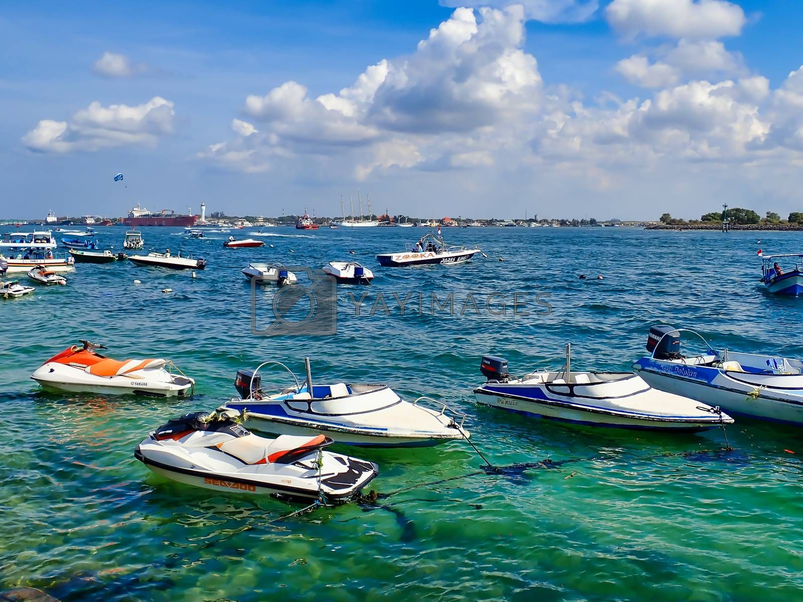 Bali, Indonesia - July 11, 2020 : Bali Water sports vehicle and tourism package in Indonesia