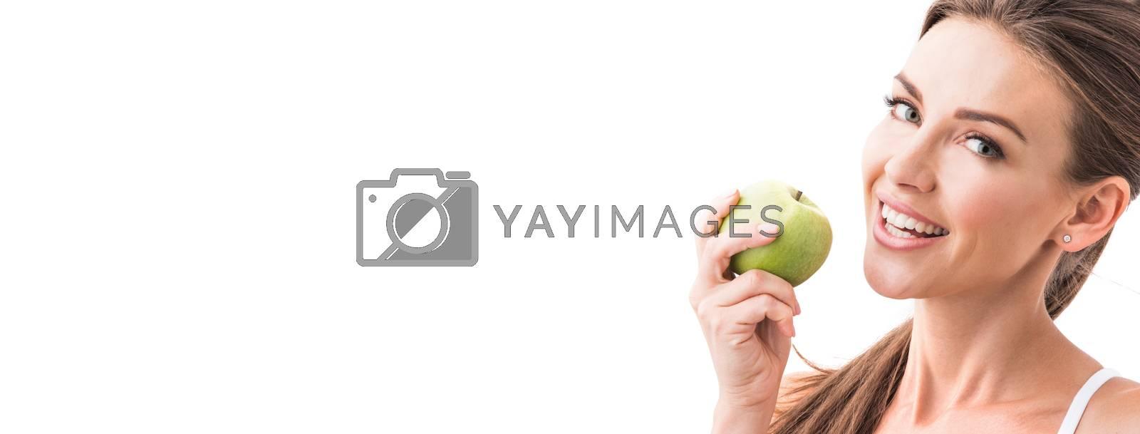 Woman eat green apple by Yellowj