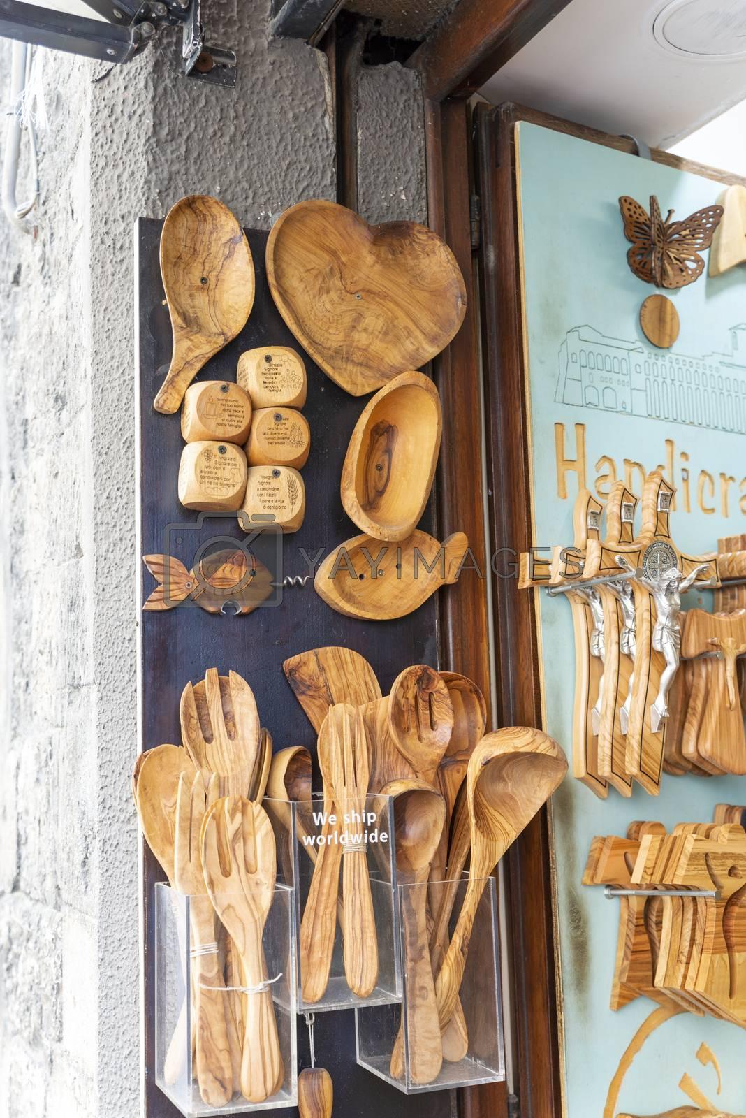 assisi,italy july 11 2020:handmade wooden kitchen utensils