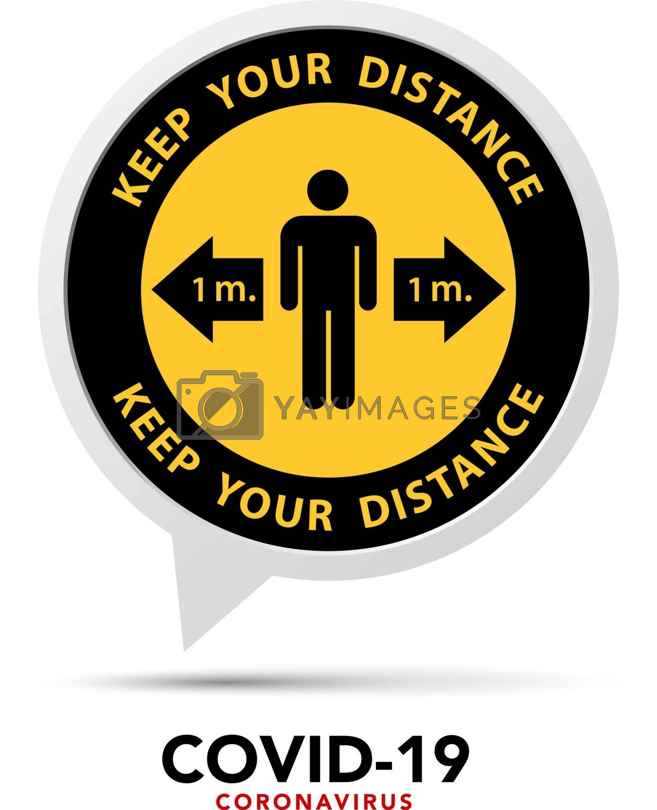 Social distancing banner. Keep the 1 meter distance.Vector eps10