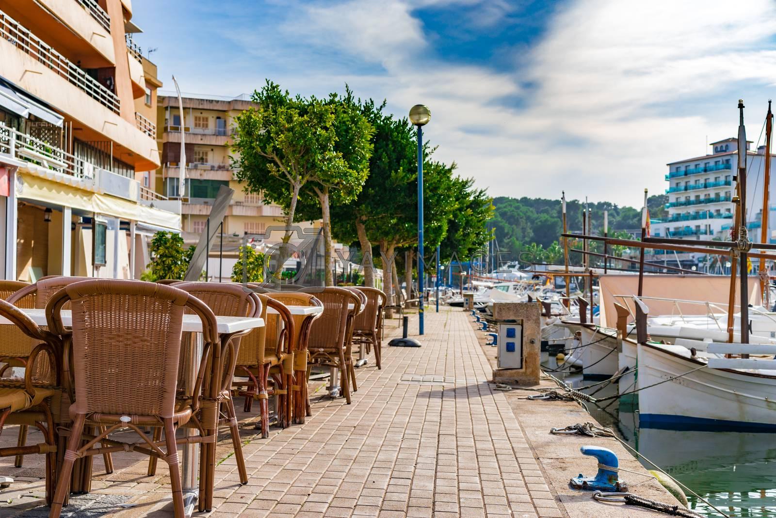 Harbor promenade of Porto Christo on Mallorca, Spain Balearic islands