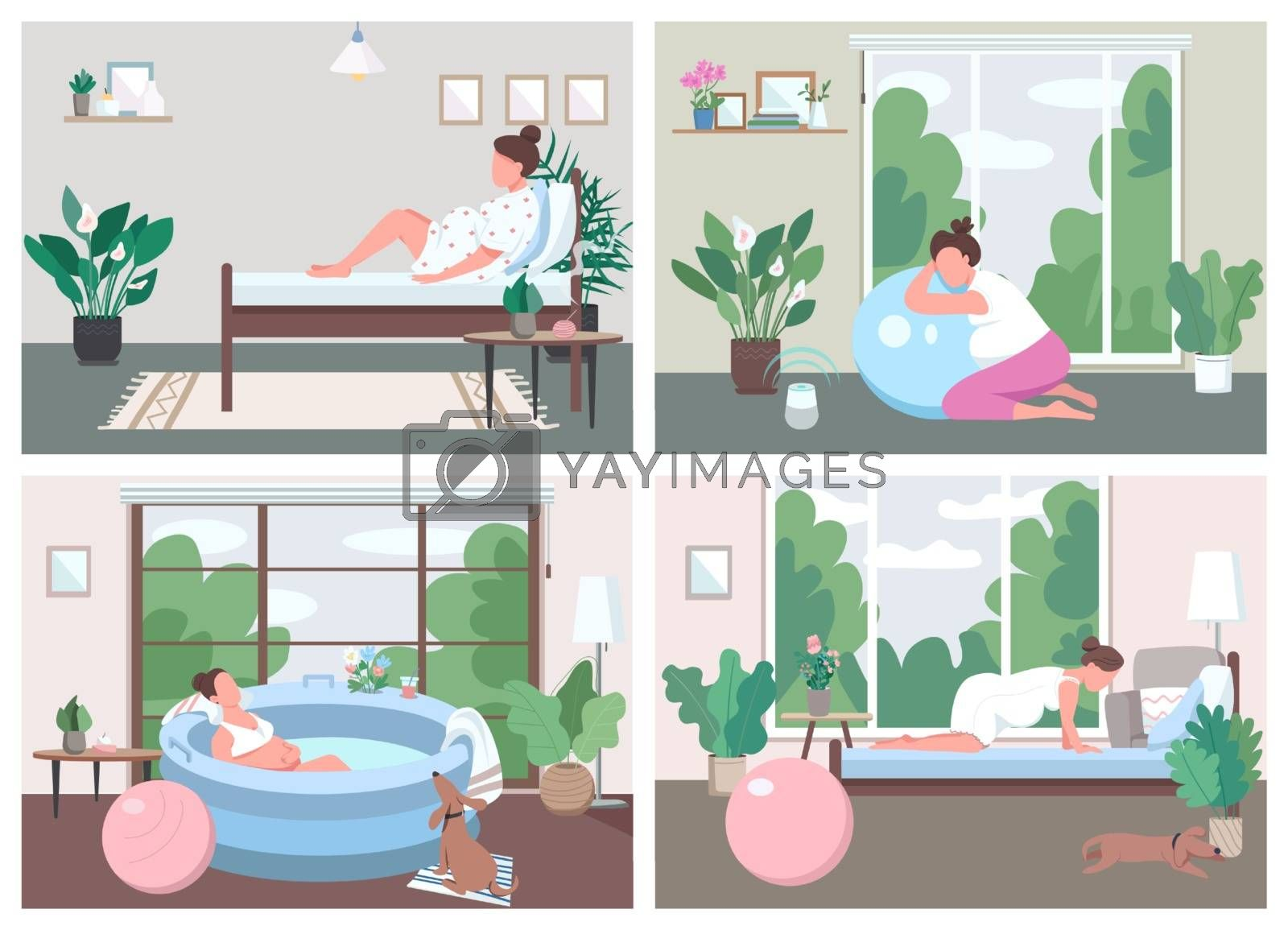 Place for childbirth at home flat color vector illustration set by ntl