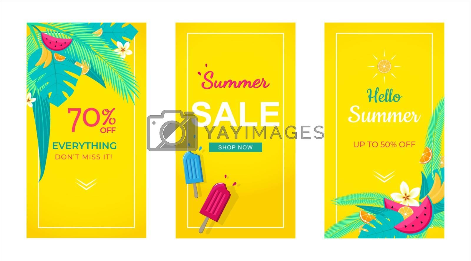 Set of Instagram stories sale banner tropical background, social media template, summer sale can use for, website, mobile app, poster, flyer, coupon, gift card, smartphone template, web design