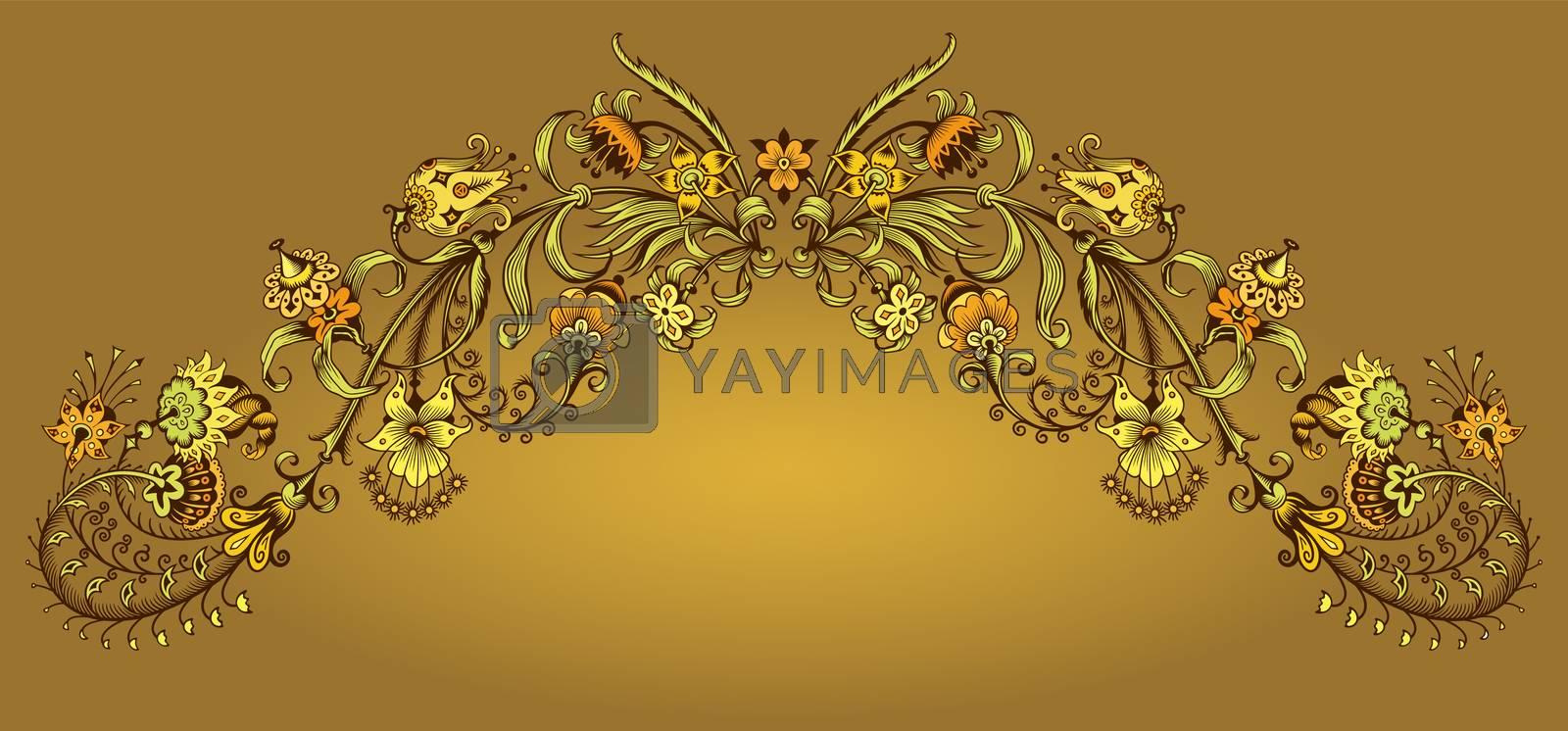 Floral hand drawn vector vintage border. Engraved nature elements and objects illustration. Frame design.