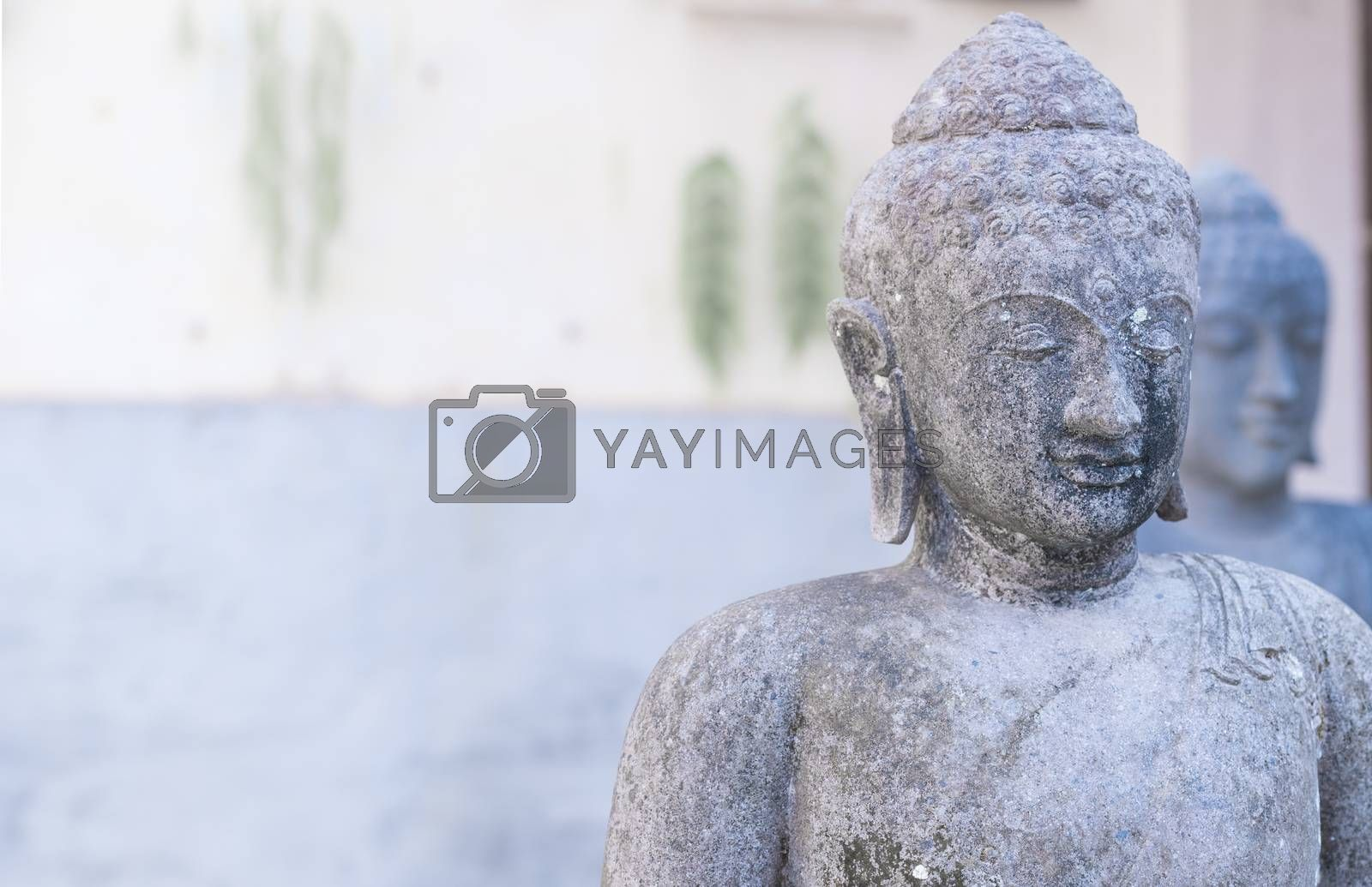 Buddhism culture background with two buddha statue sculpture