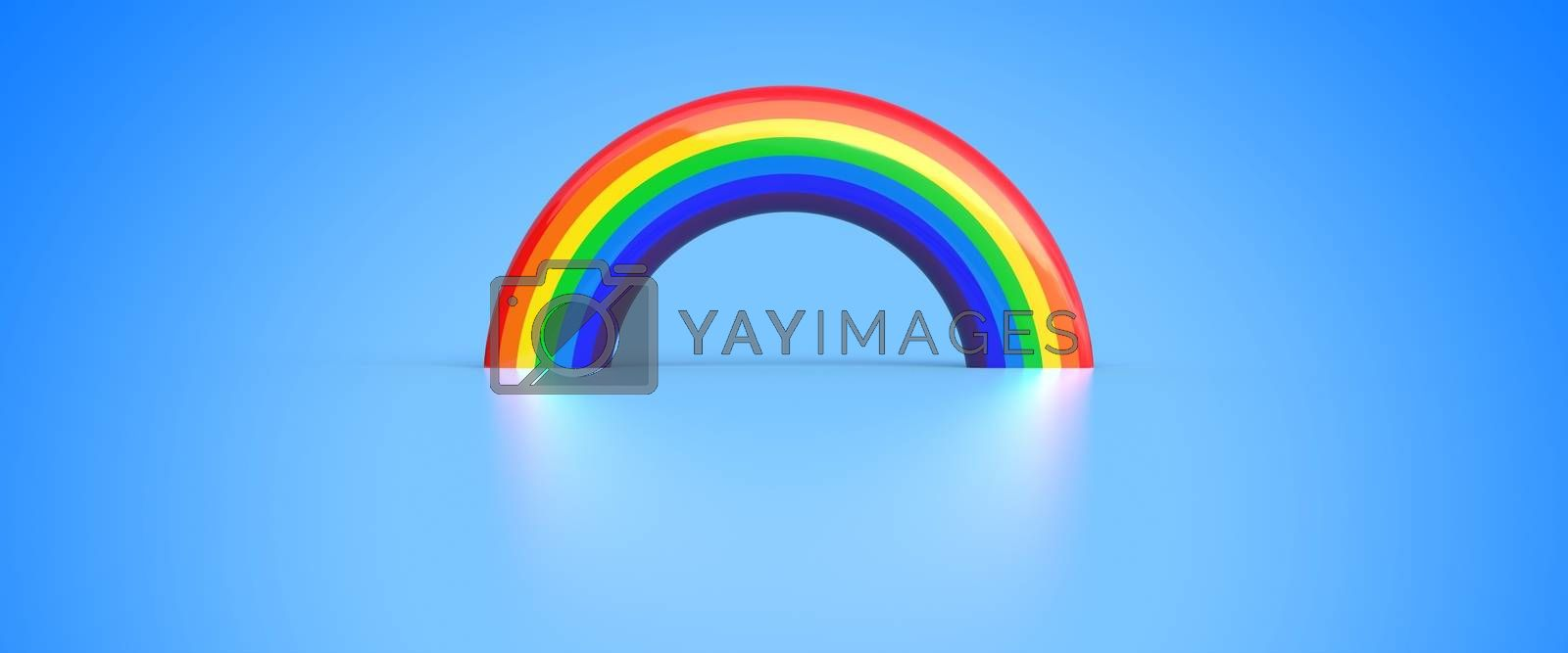 rainbow and its reflection on blue background - 3D render