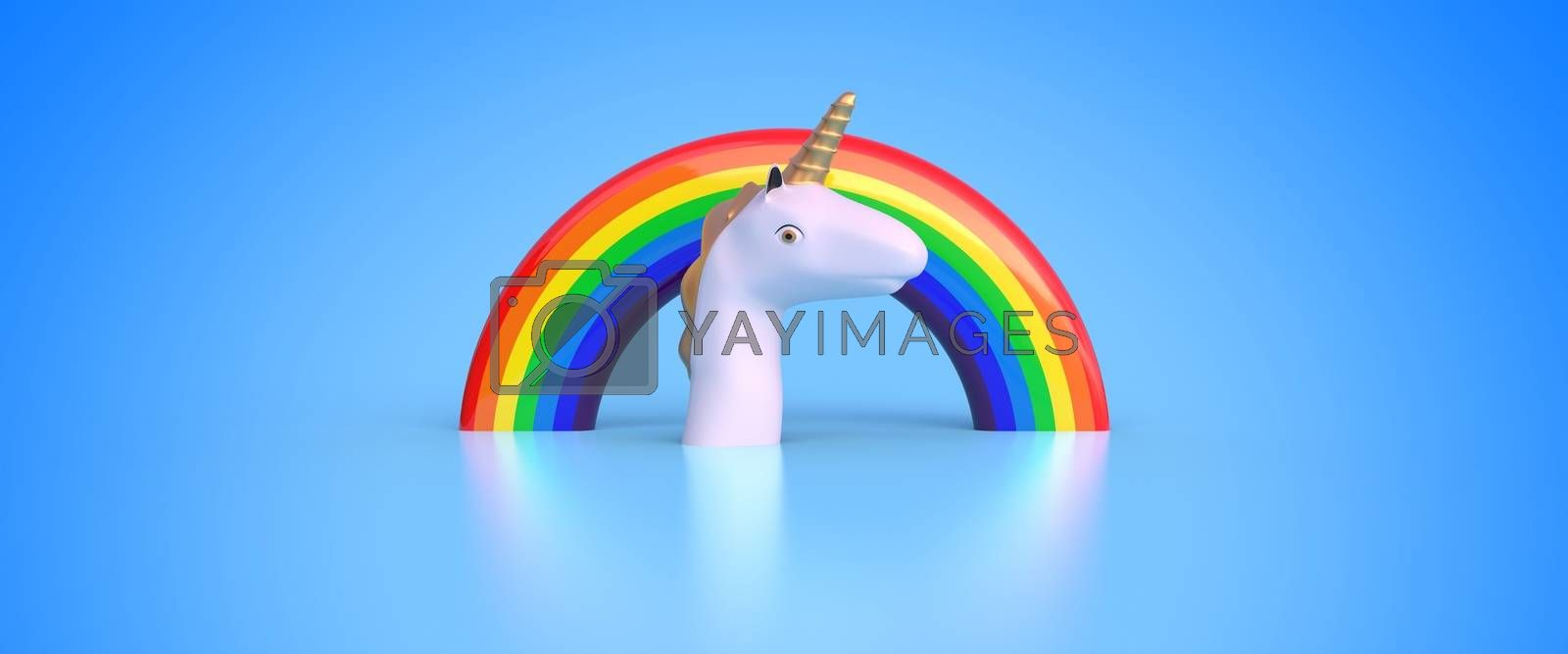 unicorn head and rainbow on blue background 3D rendering
