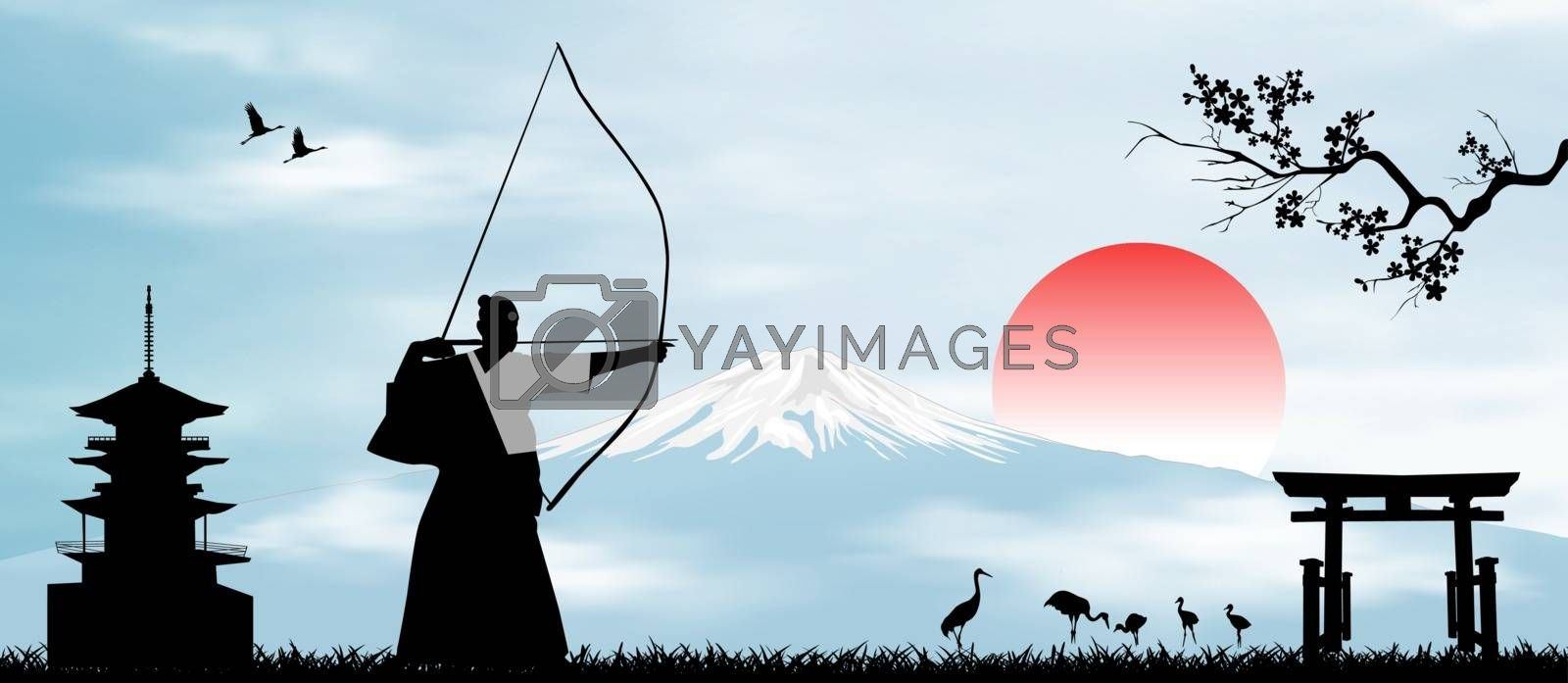 Japanese archer on the background of Mount Fuji by liolle