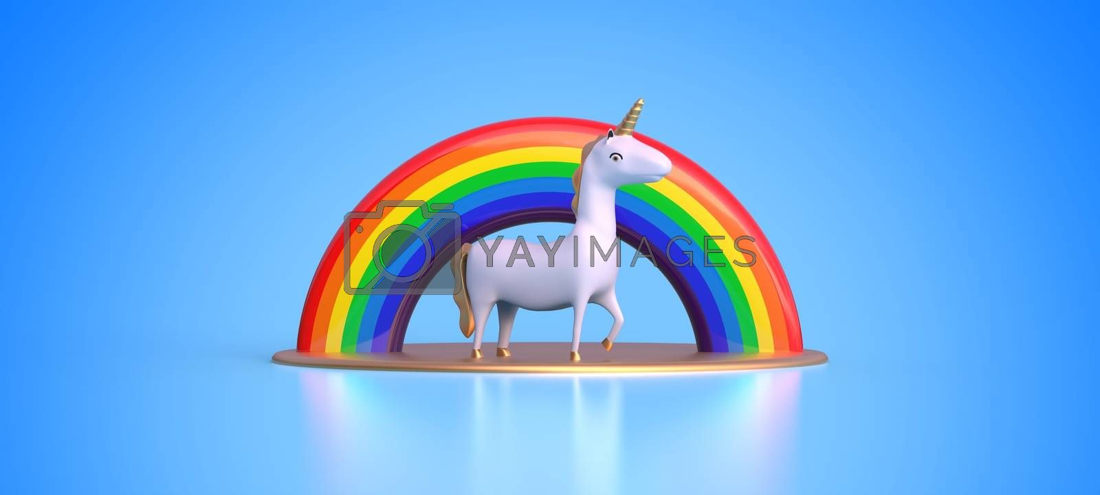 unicorn and rainbow on blue background 3D rendering