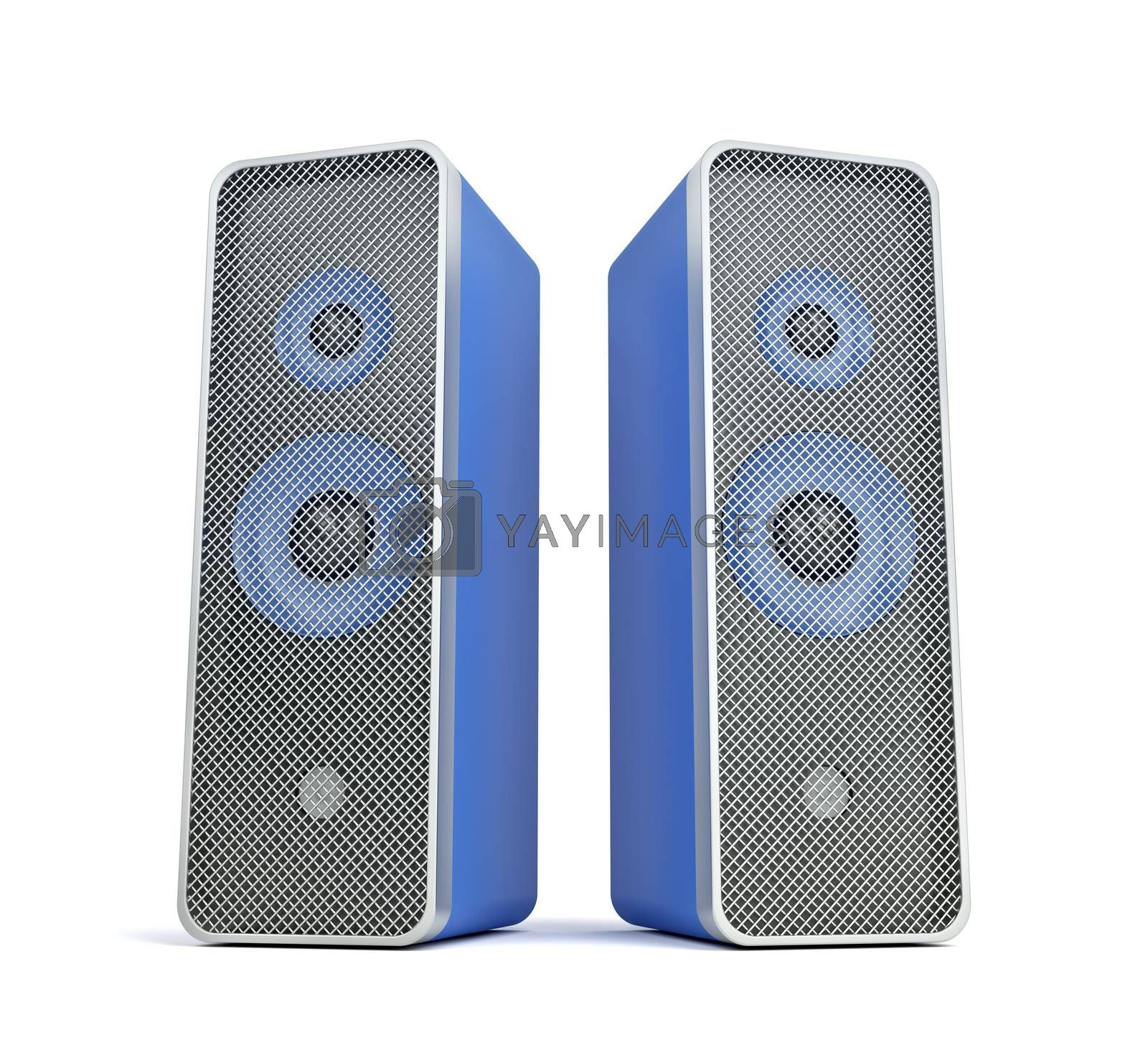 Stereo computer speakers on white background