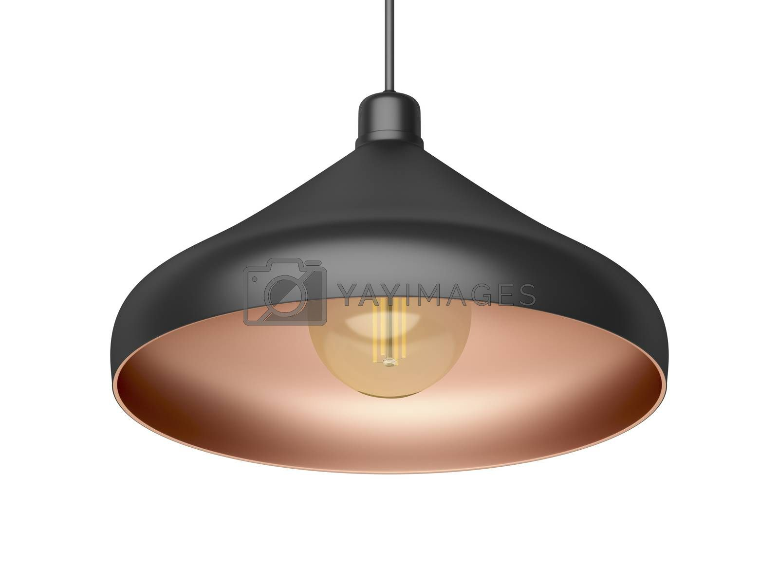 Modern designed pendant lamp with LED bulb, isolated on white background