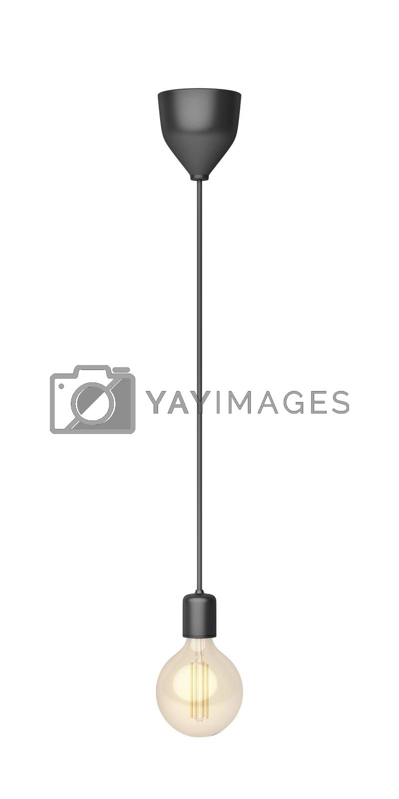 Pendant lamp with LED light bulb, isolated on white background