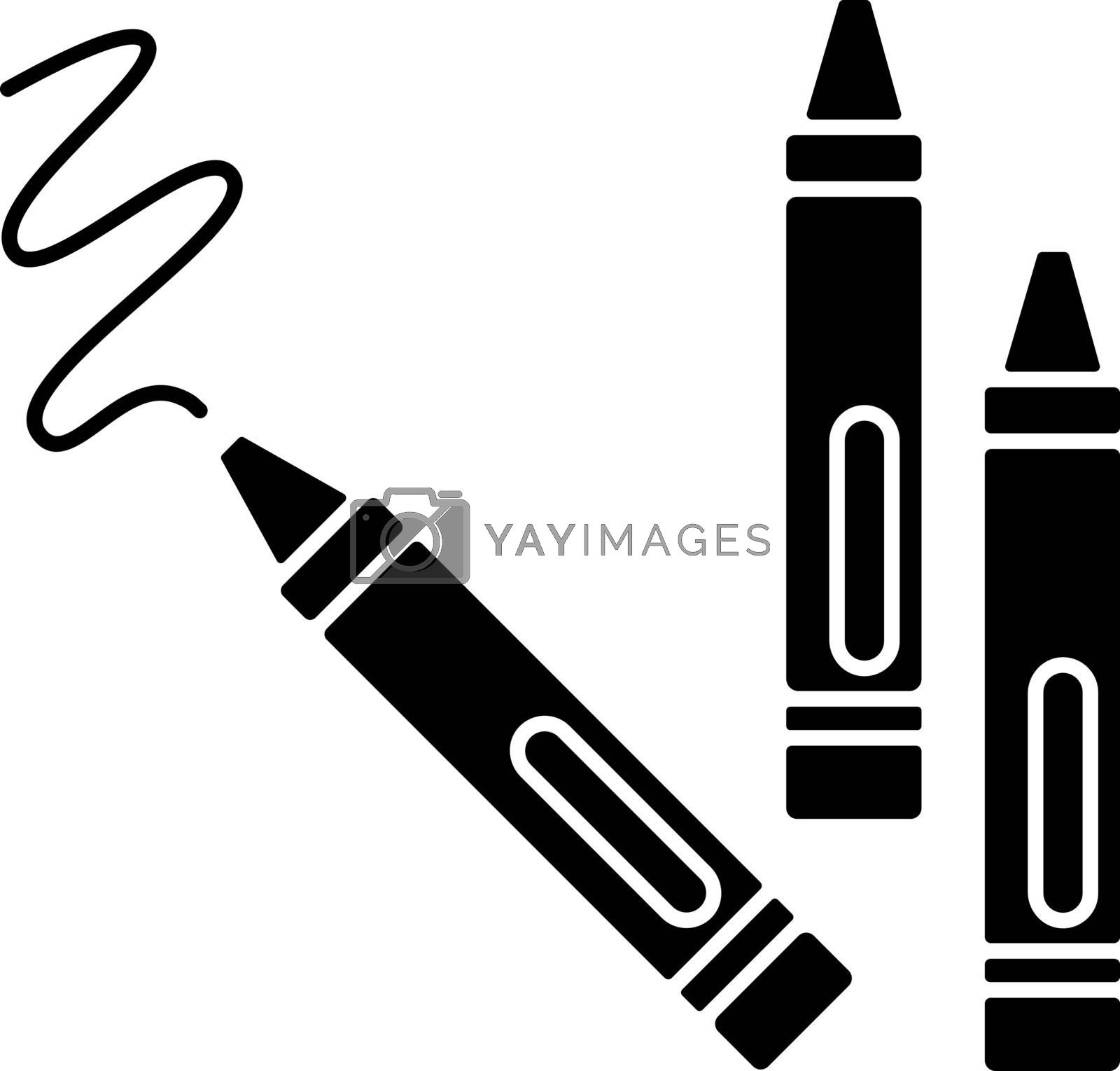 Crayons black glyph icon. Wax pencils for drawing. Children creativity and fine motor skills development toys. Color recognition. Silhouette symbol on white space. Vector isolated illustration