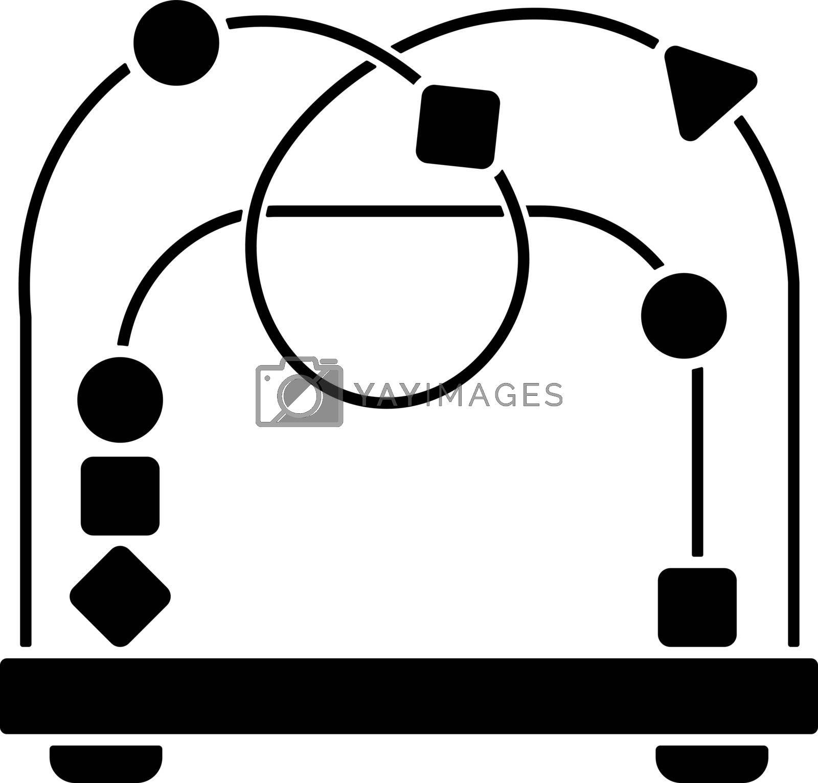 Bead maze toy black glyph icon. Roller coaster and labyrinth educational toys for kids. Shape and color recognition game. Silhouette symbol on white space. Vector isolated illustration