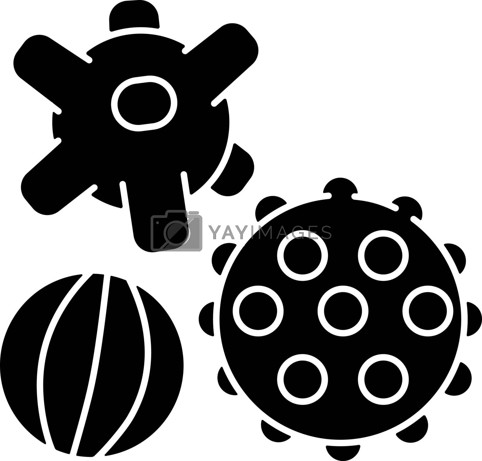 Sensory balls black glyph icon. Tactile and spiky balls. Early childhood. Toys for infants development. Fine and gross motor skills. Silhouette symbol on white space. Vector isolated illustration