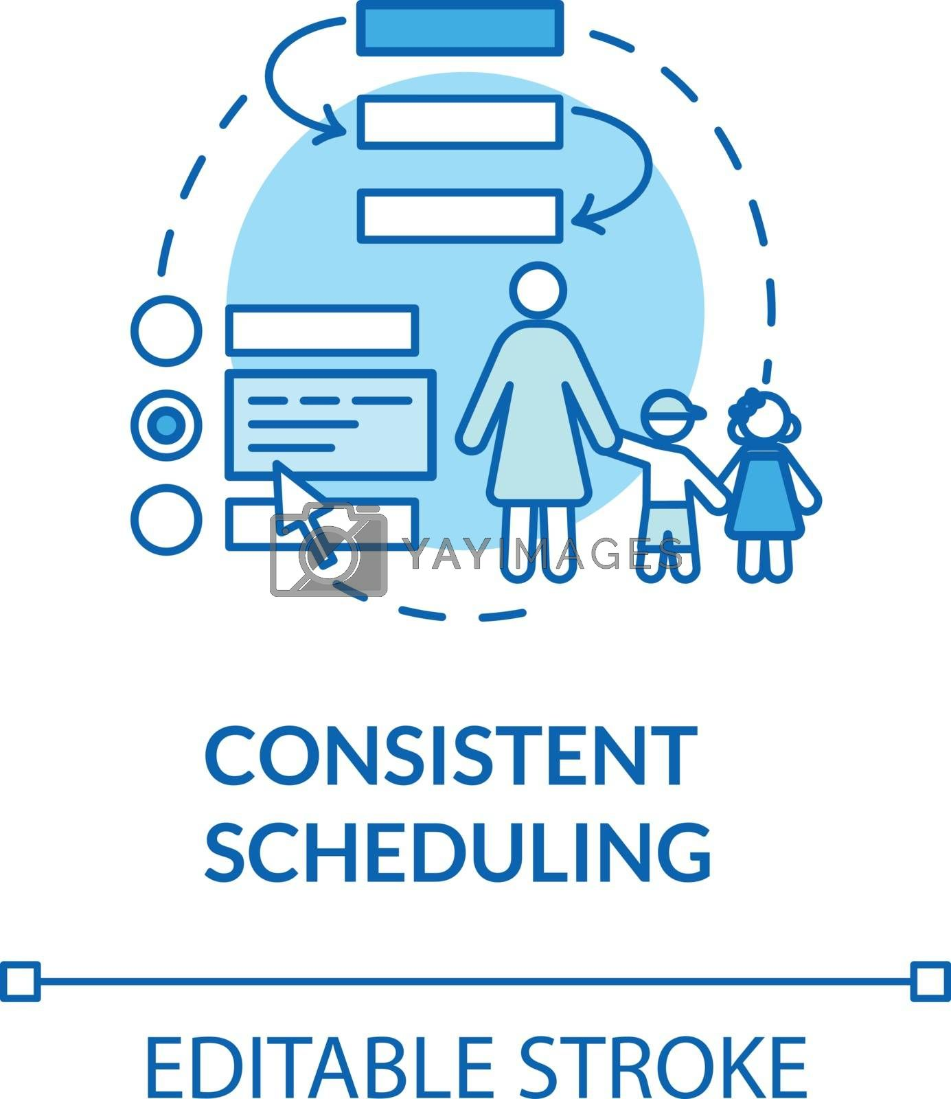 Toddlers consistent scheduling concept icon. Preschool teacher and nanny. Early childhood education idea thin line illustration. Vector isolated outline RGB color drawing. Editable stroke