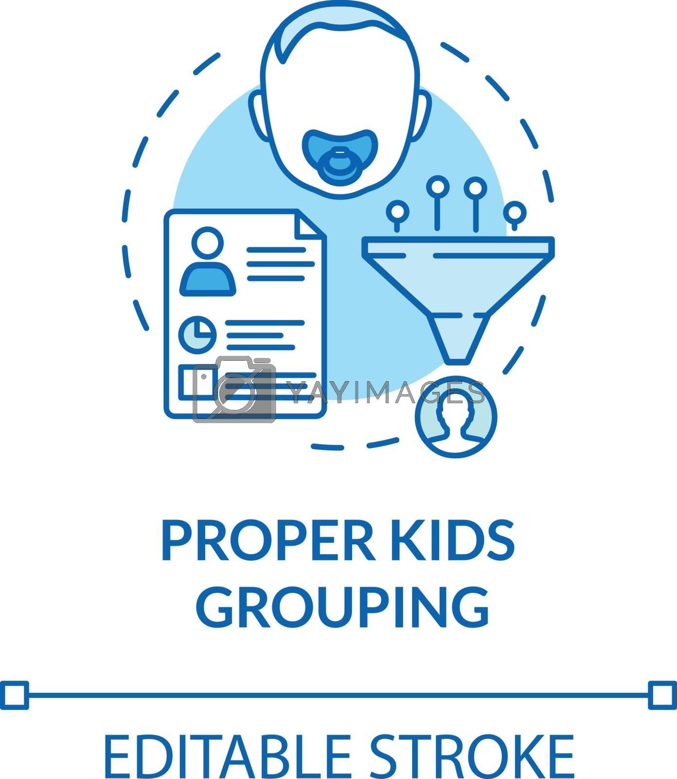 Toddlers groups concept icon. Proper kids grouping idea thin line illustration. Children in kindergartens. Early childhood education. Vector isolated outline RGB color drawing. Editable stroke