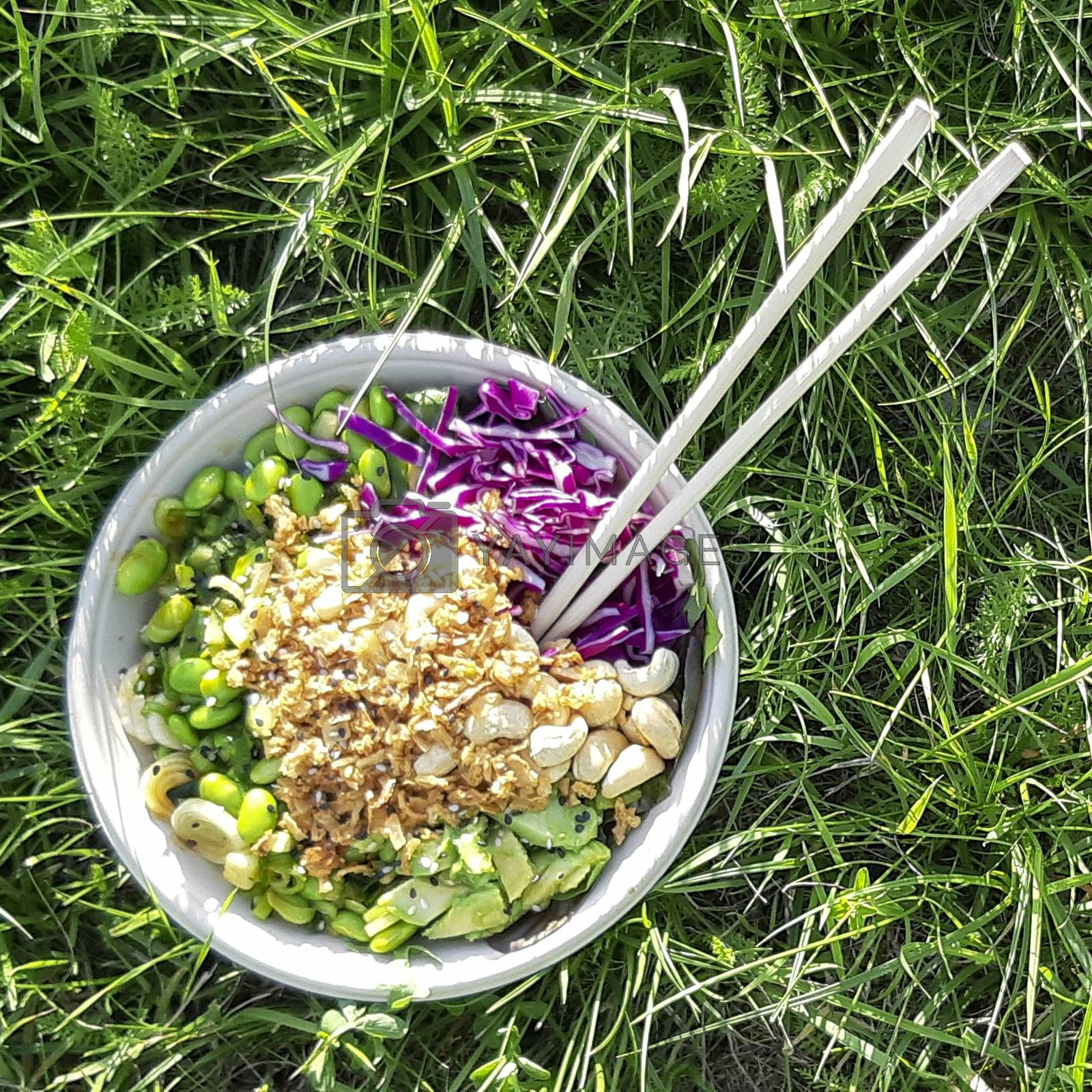 Vegan poke bowl, Hawaiian dish, with chopsticks in the grass. Cashew nuts, avocado, Red cabbage, Onion and Edamame
