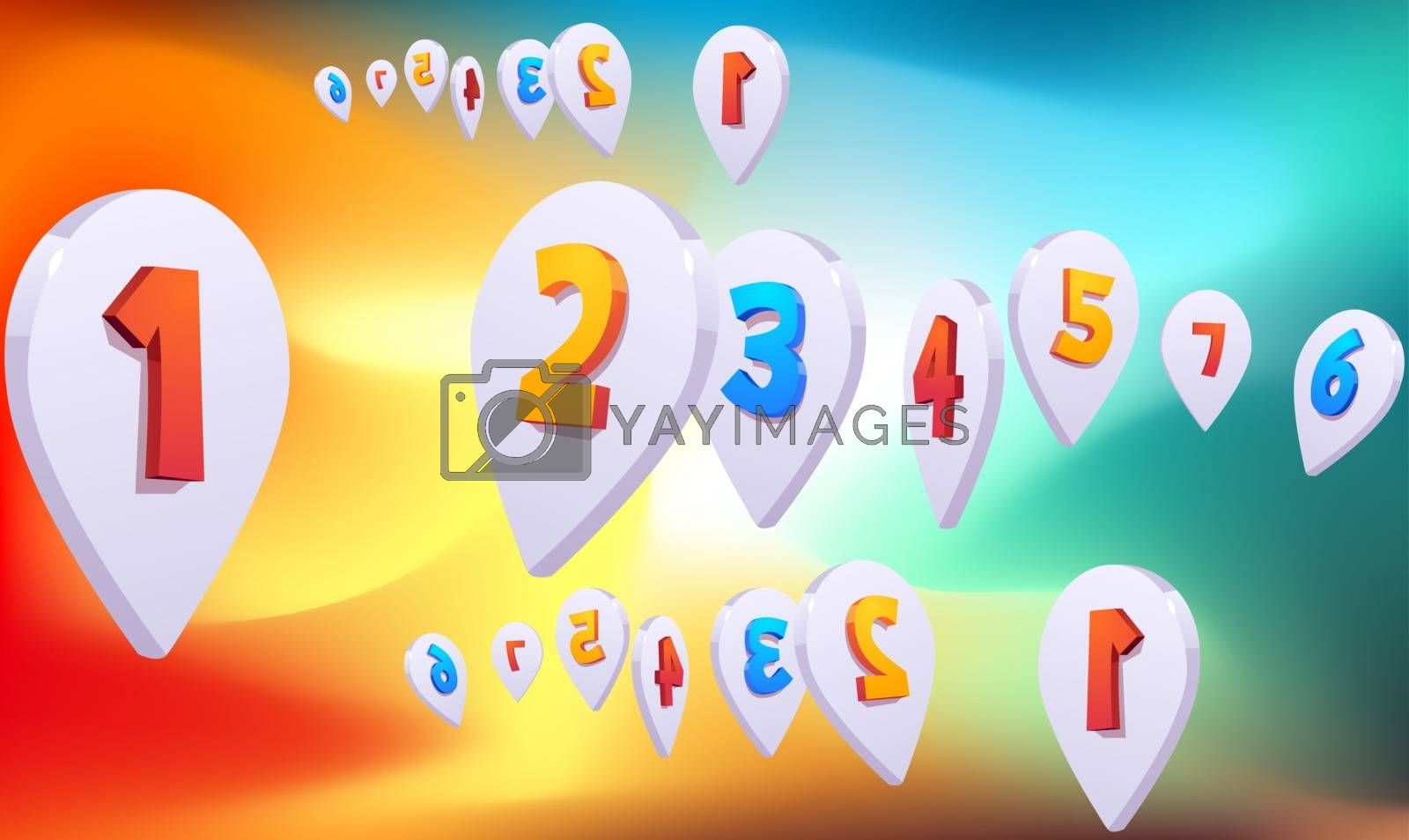 digital textile design of location mark on abstract background