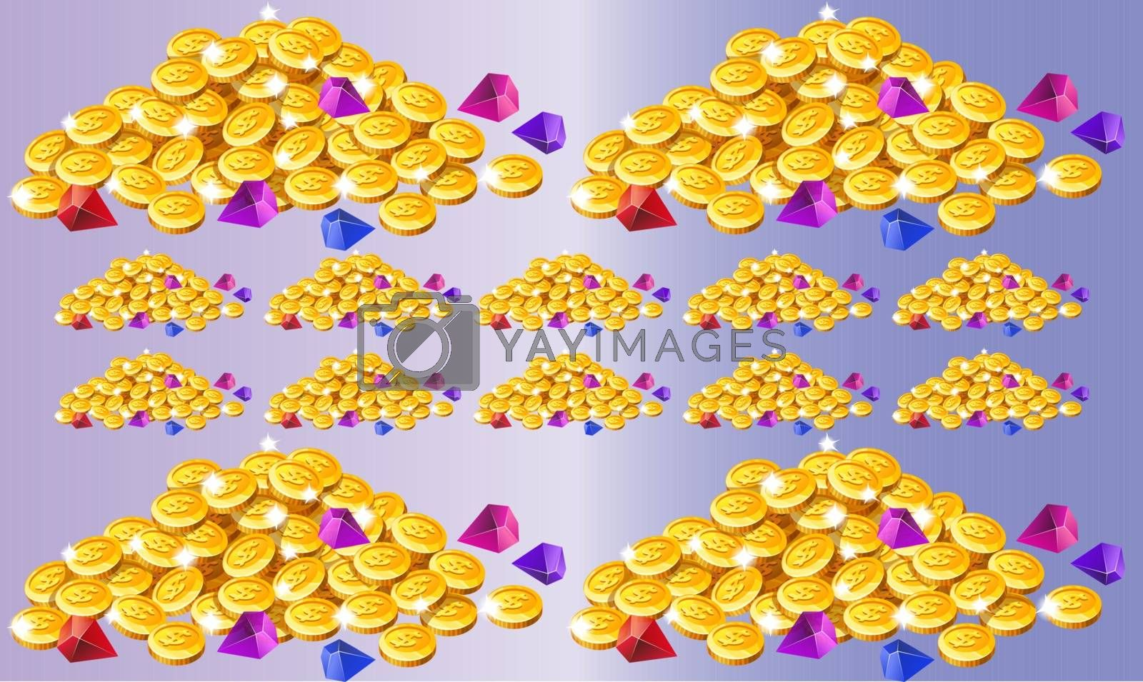 collection of coin on abstract background