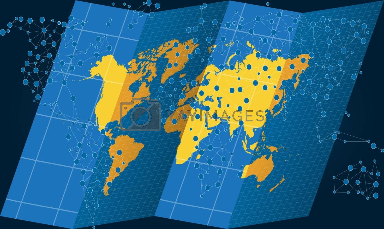 world map on treasure hunt with dots on abstract background