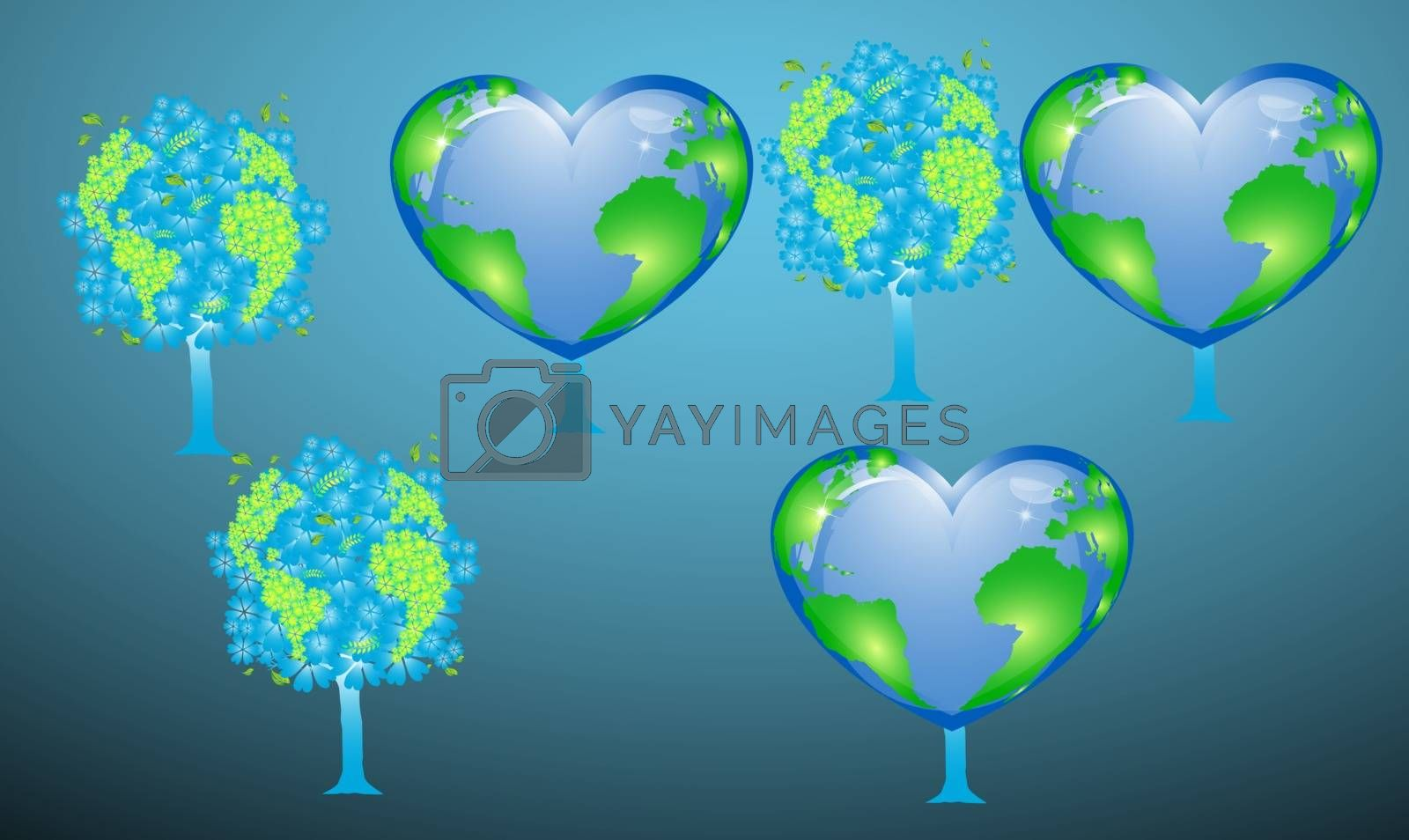 digital textile design of tree and globe on abstract background