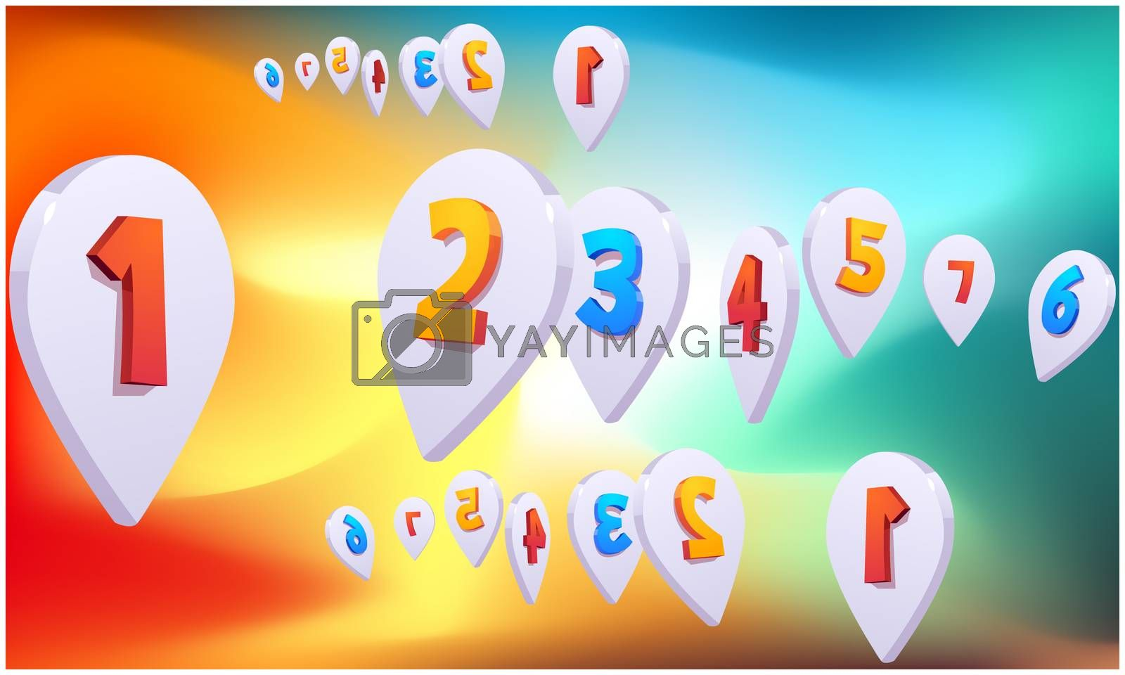 digital textile design of location marks on abstract background