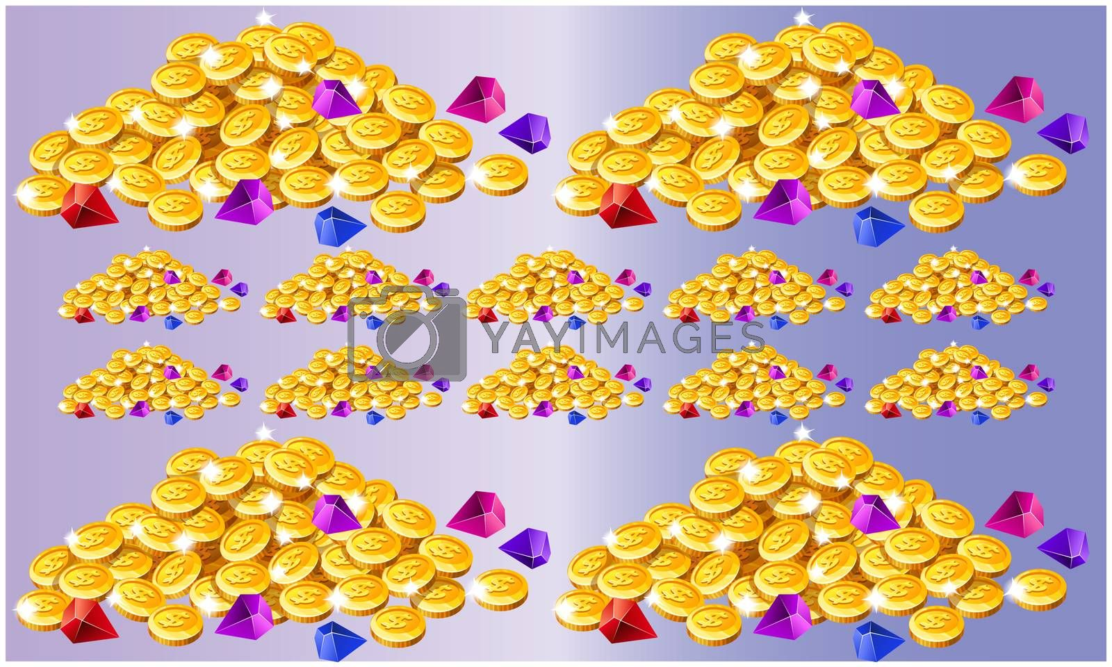 collections of coins on abstract background