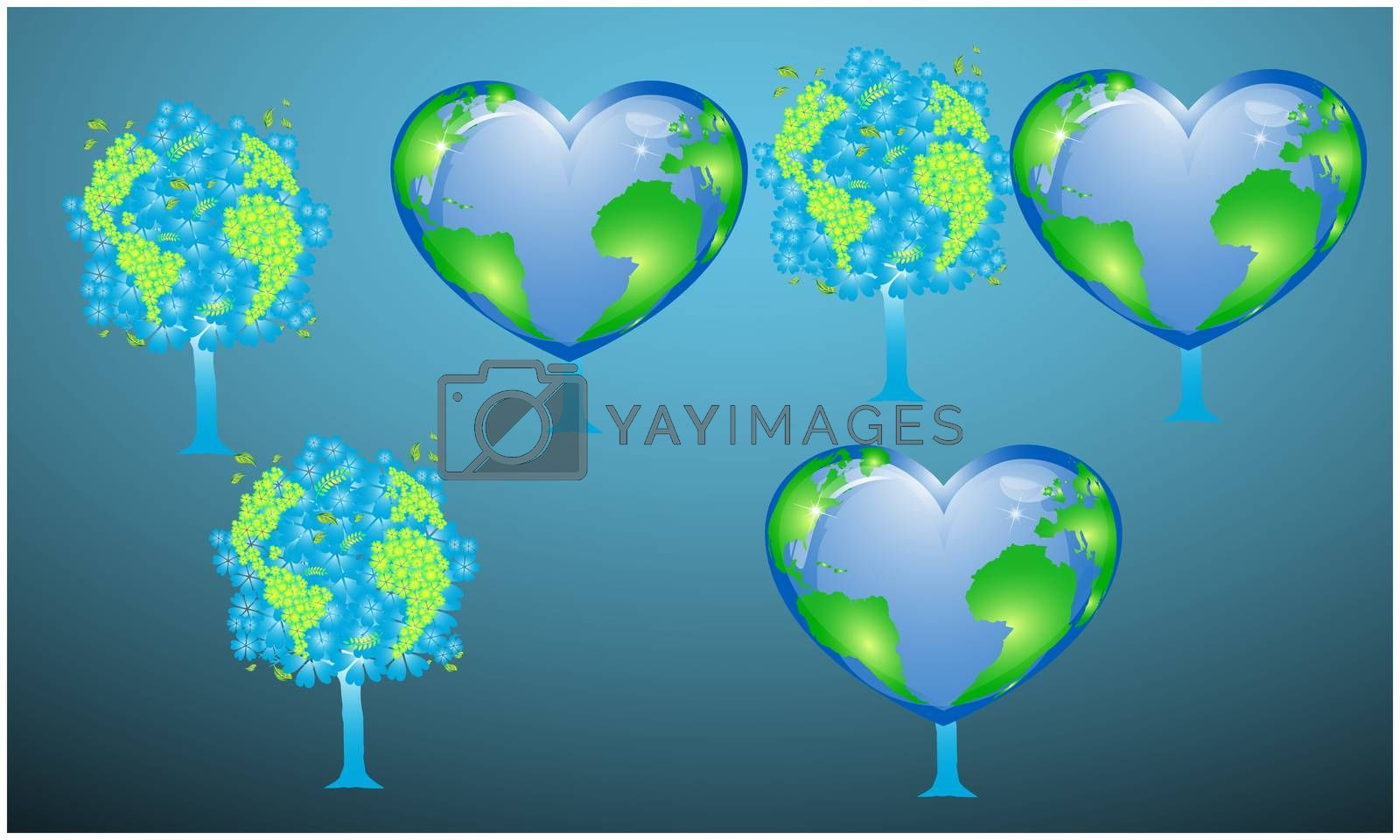 digital textile design of tree and globe on abstract backgrounds